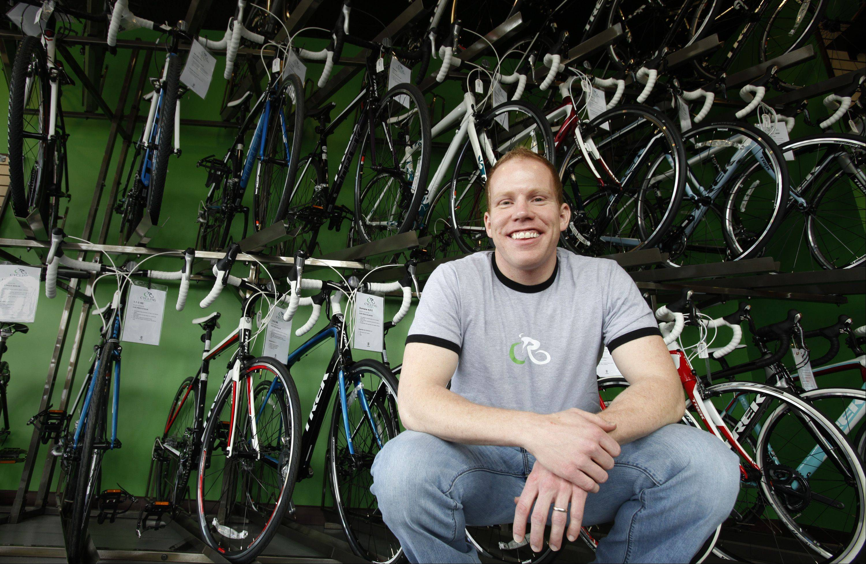 Robert Sanders owns Cycling Republic on Randall Road, a new cycling store featuring road and mountain bikes, and accessories.