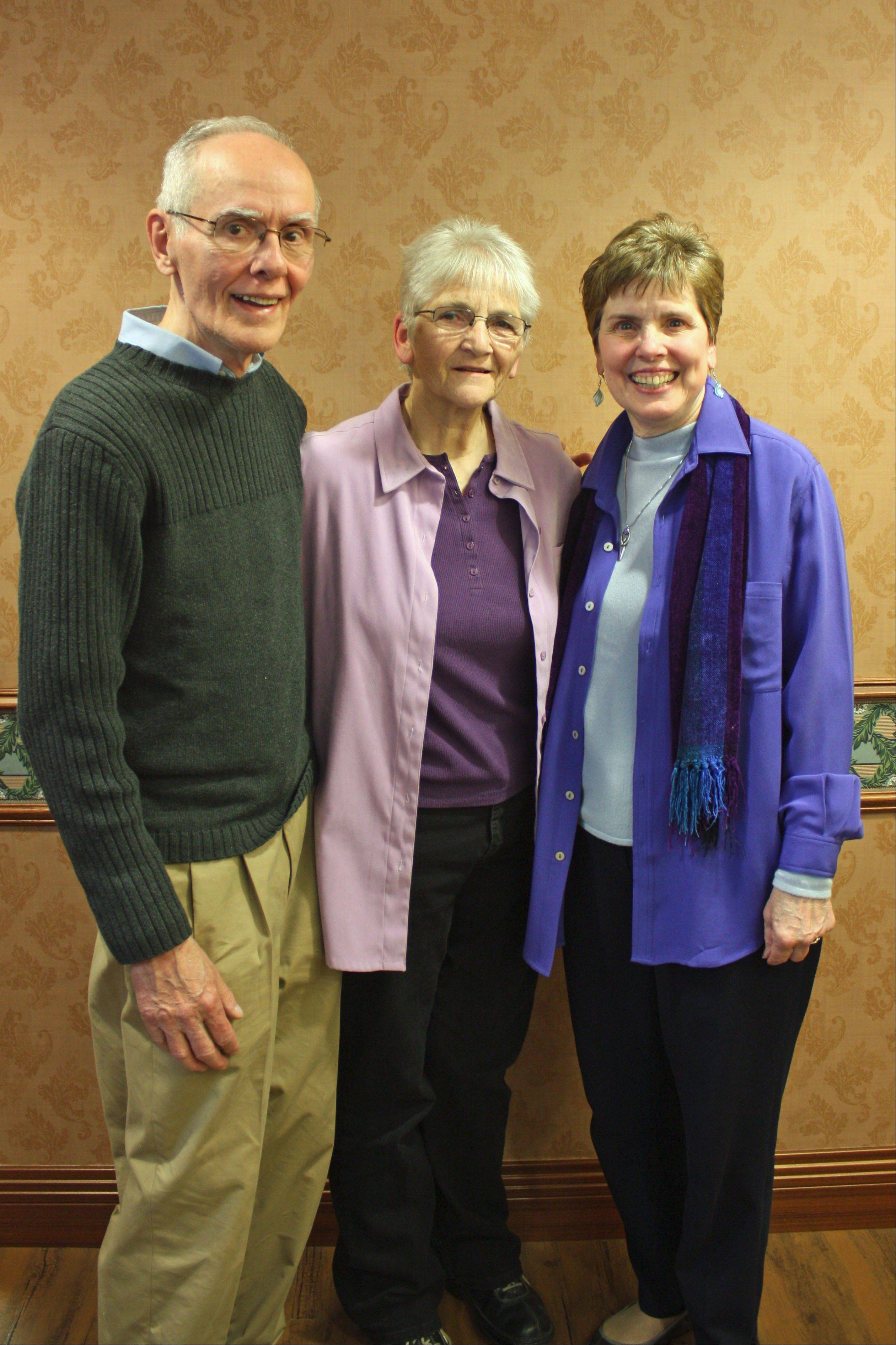 Mary Ellen Durbin, right, and her husband, Ron Durbin, co-founded Daybreak of Lisle to help homeless families transition to self-sufficiency. Sister Helen Jilek, center, has served as treasurer of Daybreak since the organization's inception in 1989.