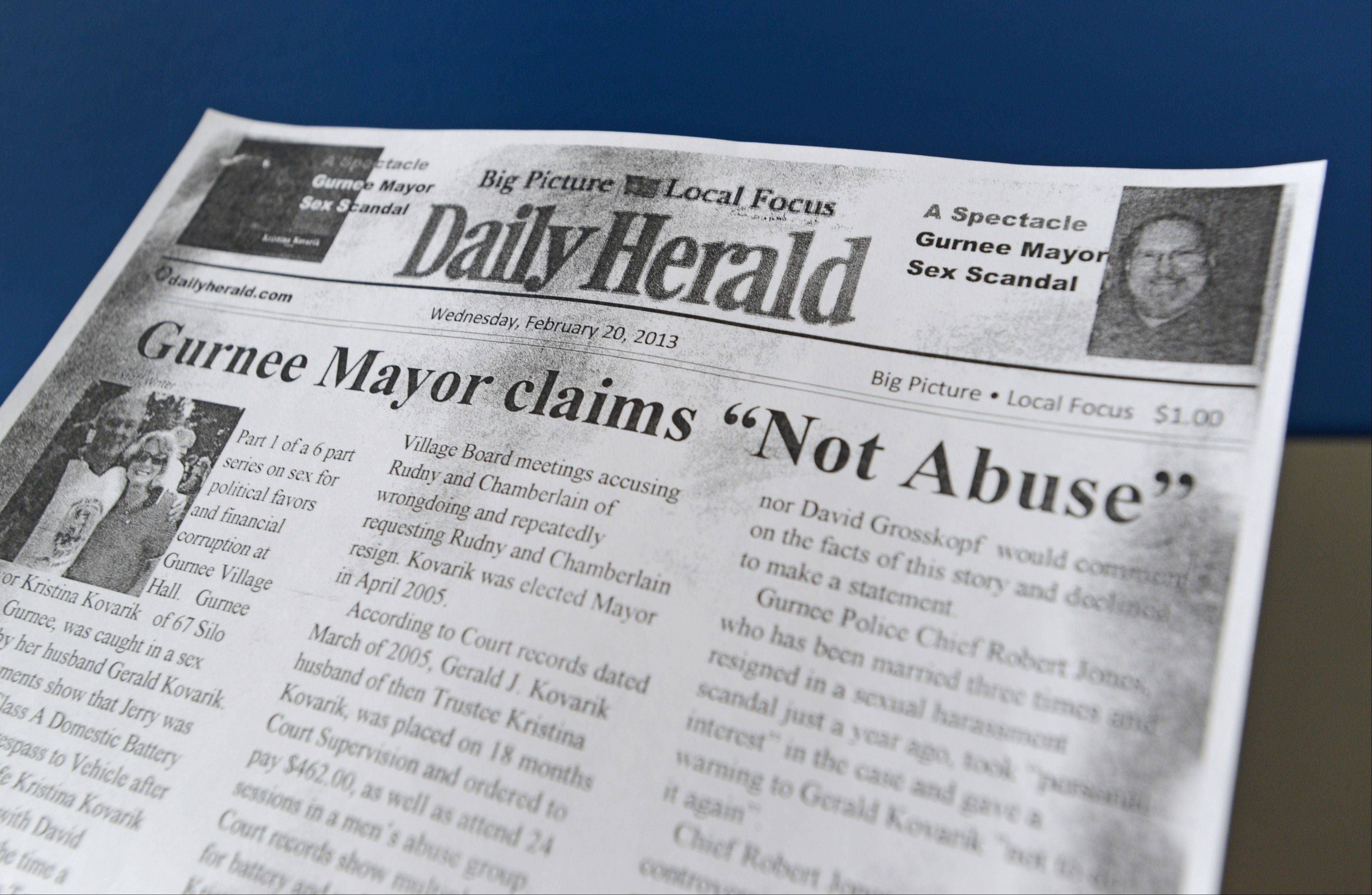 Gurnee police Cmdr. Jay Patrick says authorities are investigating anonymous threats, including this phony copy of the Daily Herald, mailed and hand-delivered to Mayor Kristina Kovarik during the April 9 campaign to intimidate her to withdraw from the race.