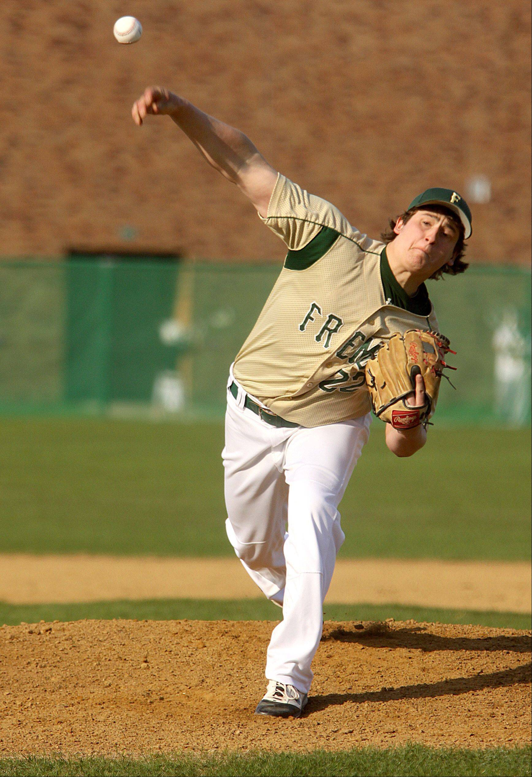 Fremd hurler Mack Rosman delivers to Schaumburg on Monday.