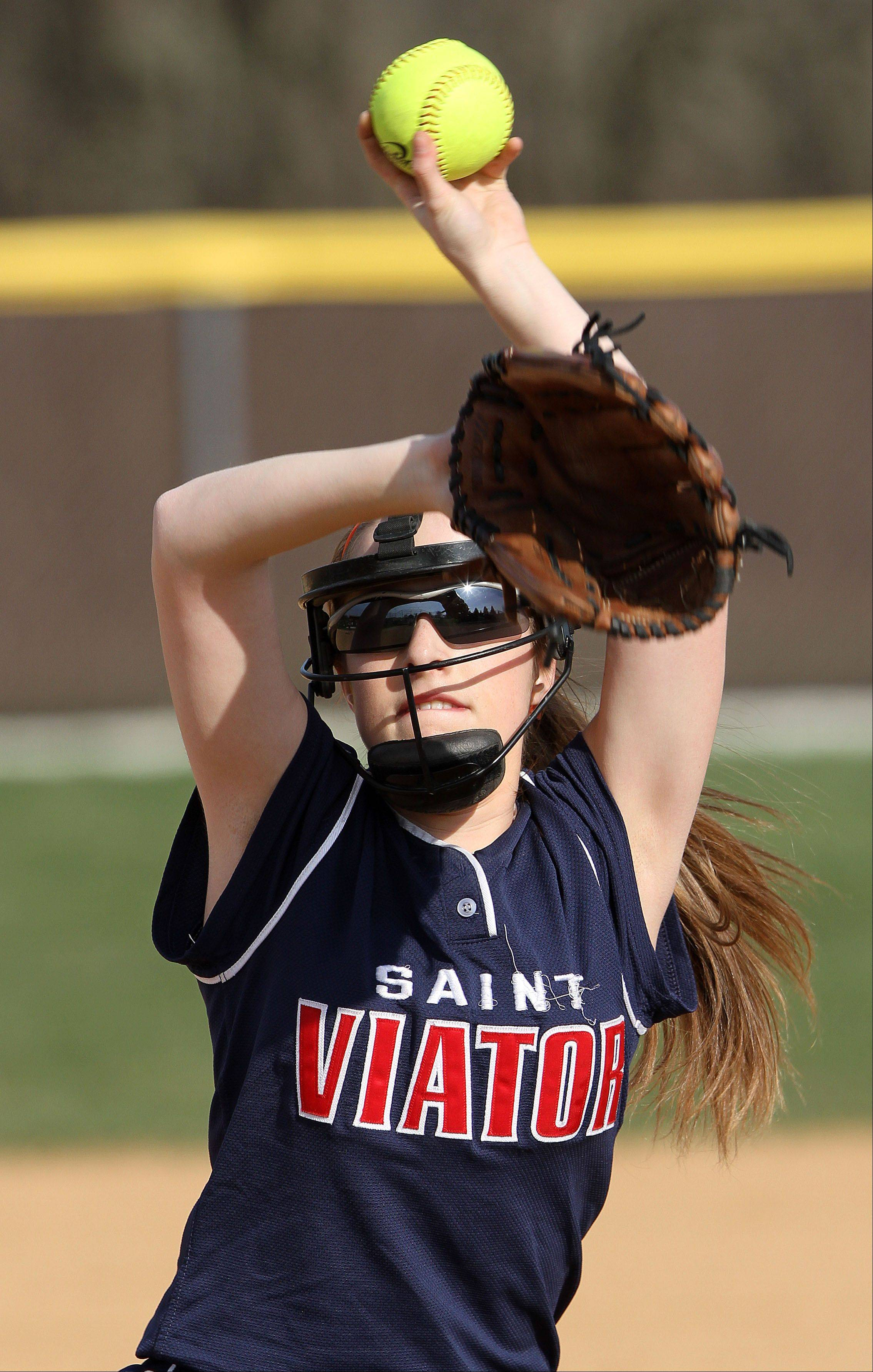 St. Viator' Krystal Harris pitches Monday at Carmel Catholic High School.