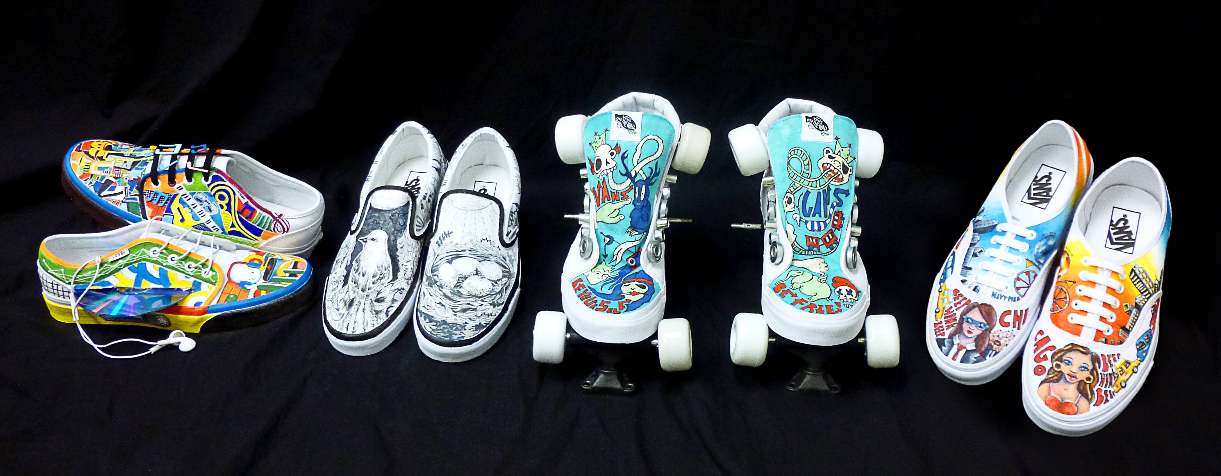Vernon Hills High School students' shoe designs for the Custom Culture competition.  Design by (left to right): Ann Ho, Kathleen McLoughlin, Tiffany Do, and Olivia Weaver.