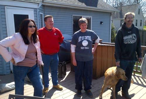 Congresswoman Tammy Duckworth and Village President-Elect Keith Giagnorio meet with Lombard residents, Adams Family on Sunday, April 21 to view recent storm damages to their property.
