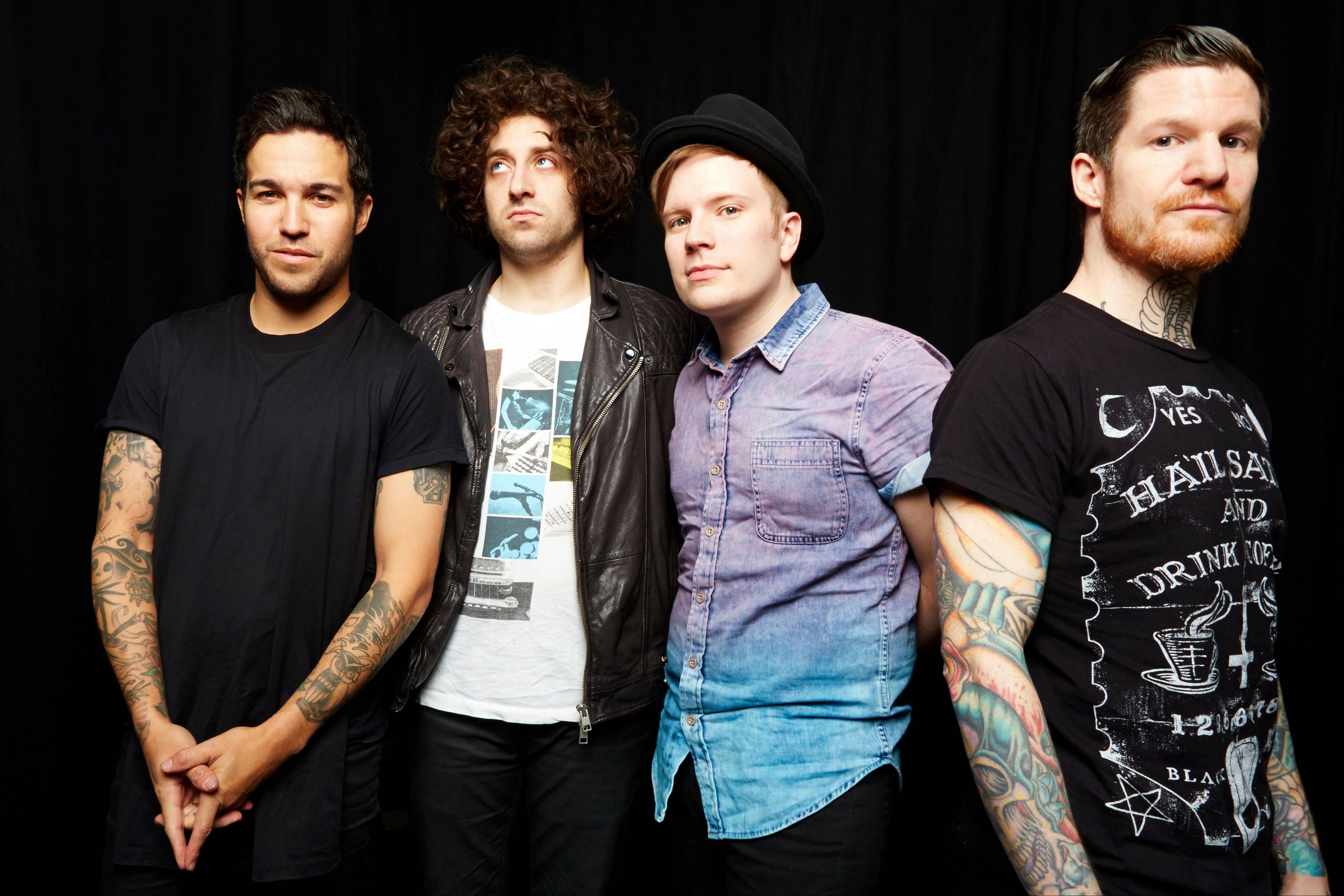 "Members of Fall Out Boy — from left, Pete Wentz, Joe Trohman, Patrick Stump and Andy Hurley — have released their new album, ""Save Rock 'n' Roll,"" with a little help from Elton John and Courtney Love."
