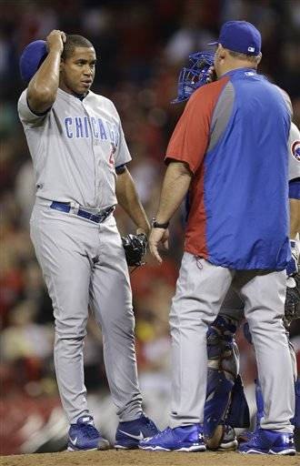 Pitcher Carlos Villanueva turned in his fourth straight quality start, working 8 innings, but Carlos Marmol gave up a game-tying RBI single to Joey Votto in the bottom of the ninth to turn a 2-1 Cubs lead into a 2-2 tie.