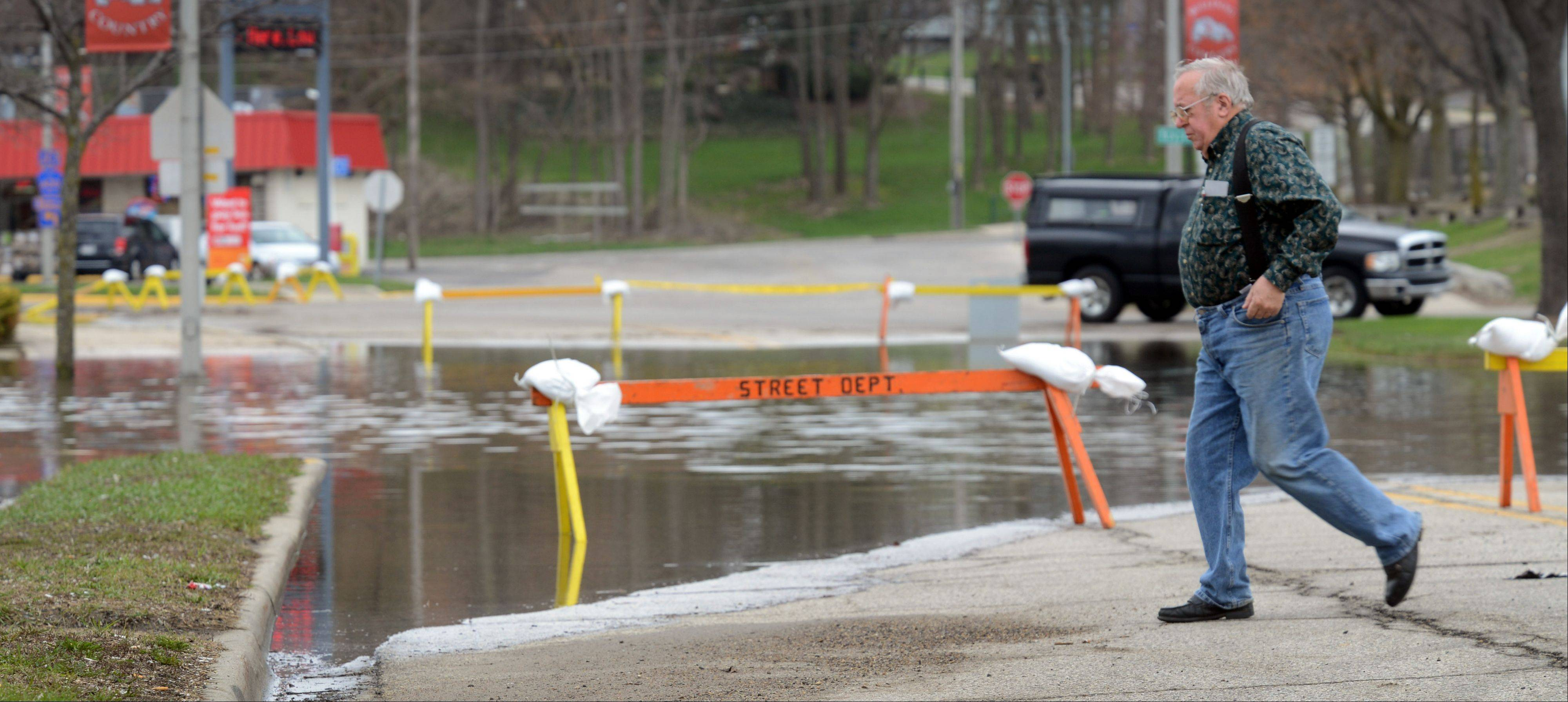 Grand Avenue in downtown Fox Lake is closed Tuesday due to flooding.