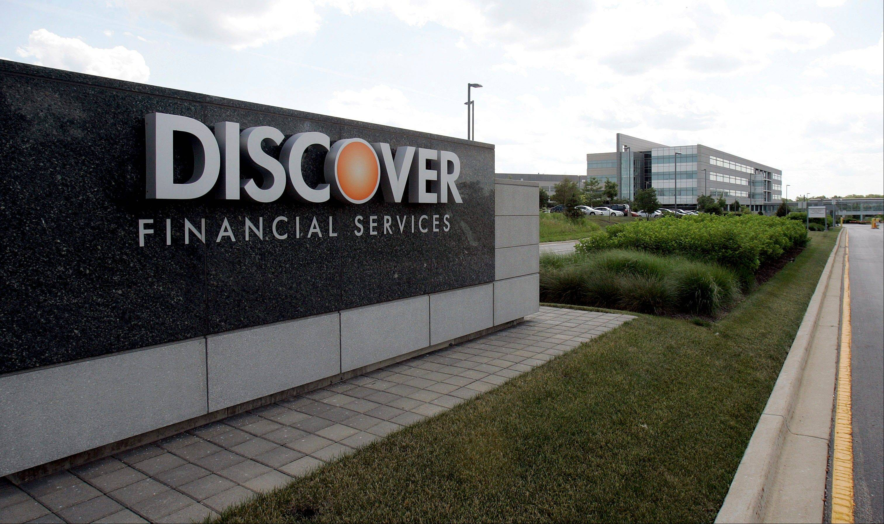 Riverwoods-based Discover Financial Services says its first-quarter net income rose 2 percent, boosted by loan growth.