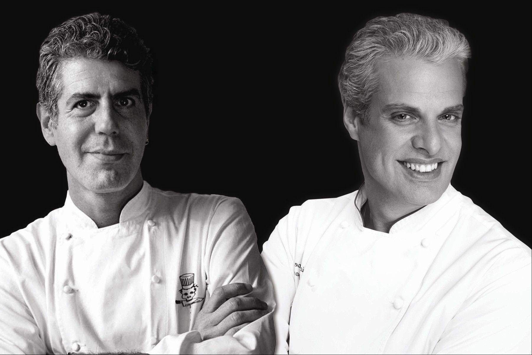 Outspoken chefs Anthony Bourdain, left, and Eric Ripert bring their Good vs. Evil stage show to Chicago in May.