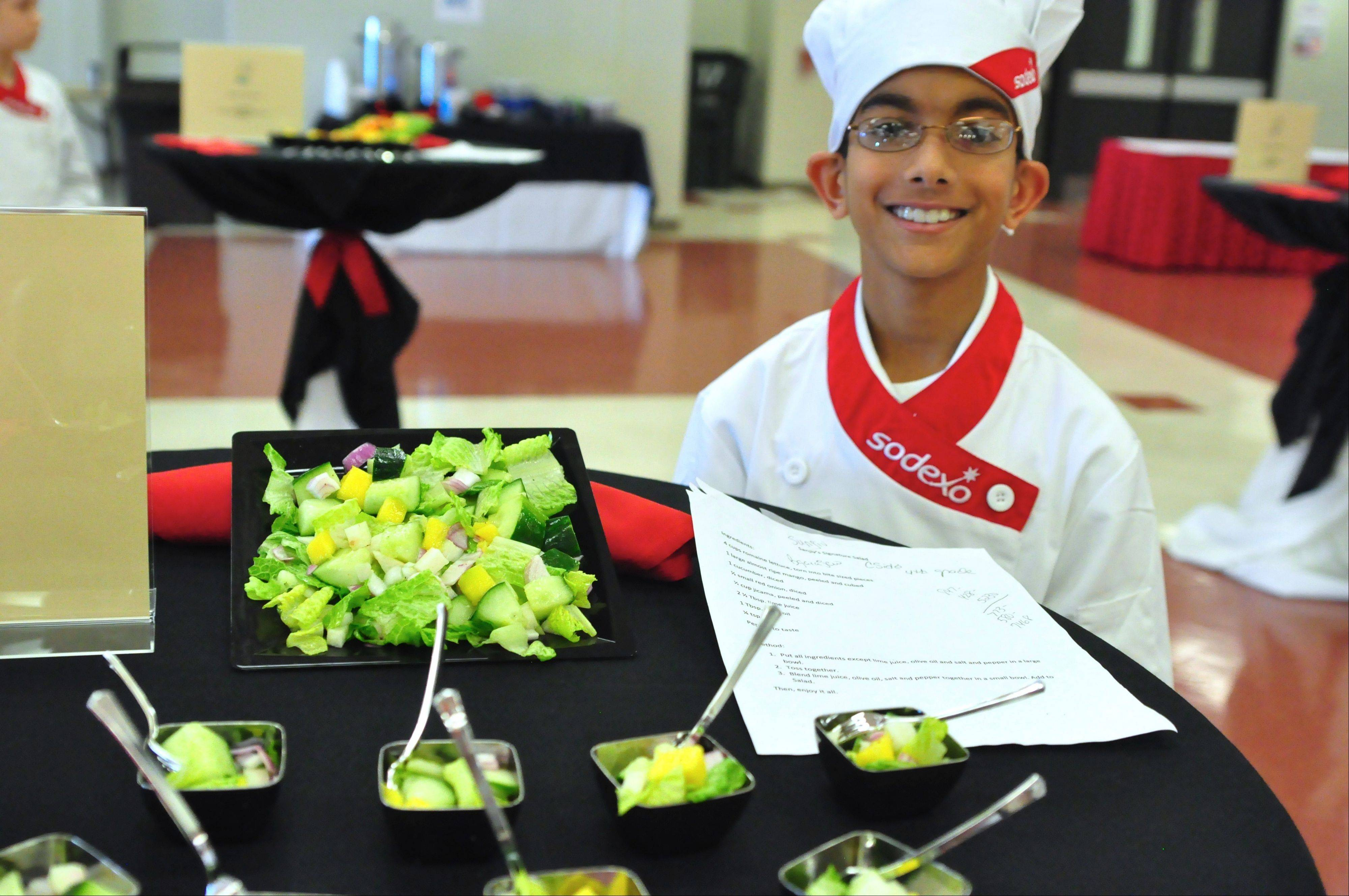 Sanjiv Bhogaraji, a fourth grader at Countryside Elementary School in Barrington, created the winning salad at Sodexo's Future Chefs Challenge.