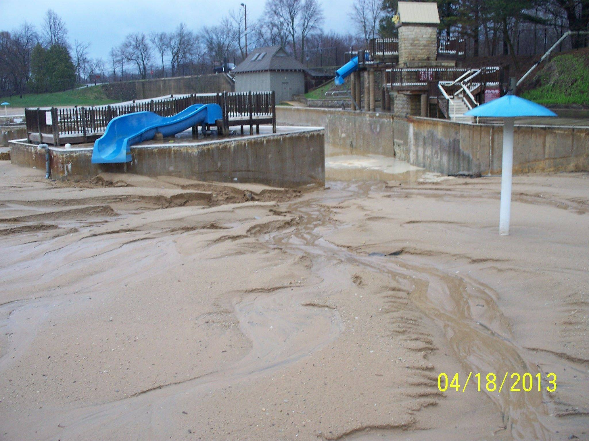 This is what the sand on the bottom of Harold Hall Quarry Beach normally looks like in the spring, before it is graded and the pool is filled for the season. But the April 24-25 storm filled Quarry Beach almost completely, delaying the district's ability to get in and move the sand.