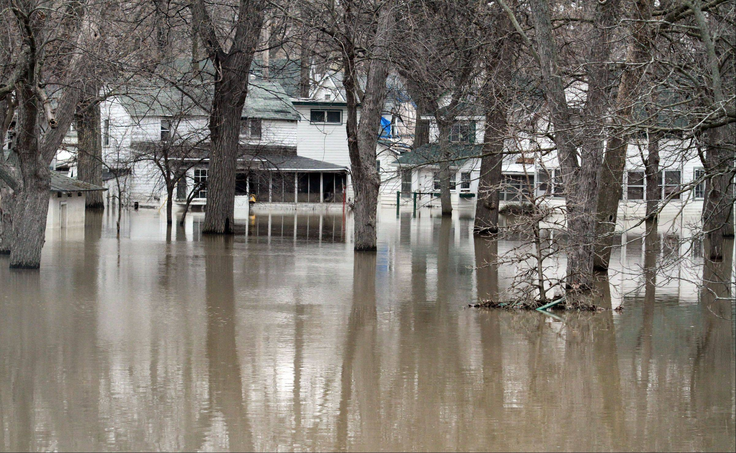 The flooded Des Plaines Methodist Camp Ground in Des Plaines on Tuesday.