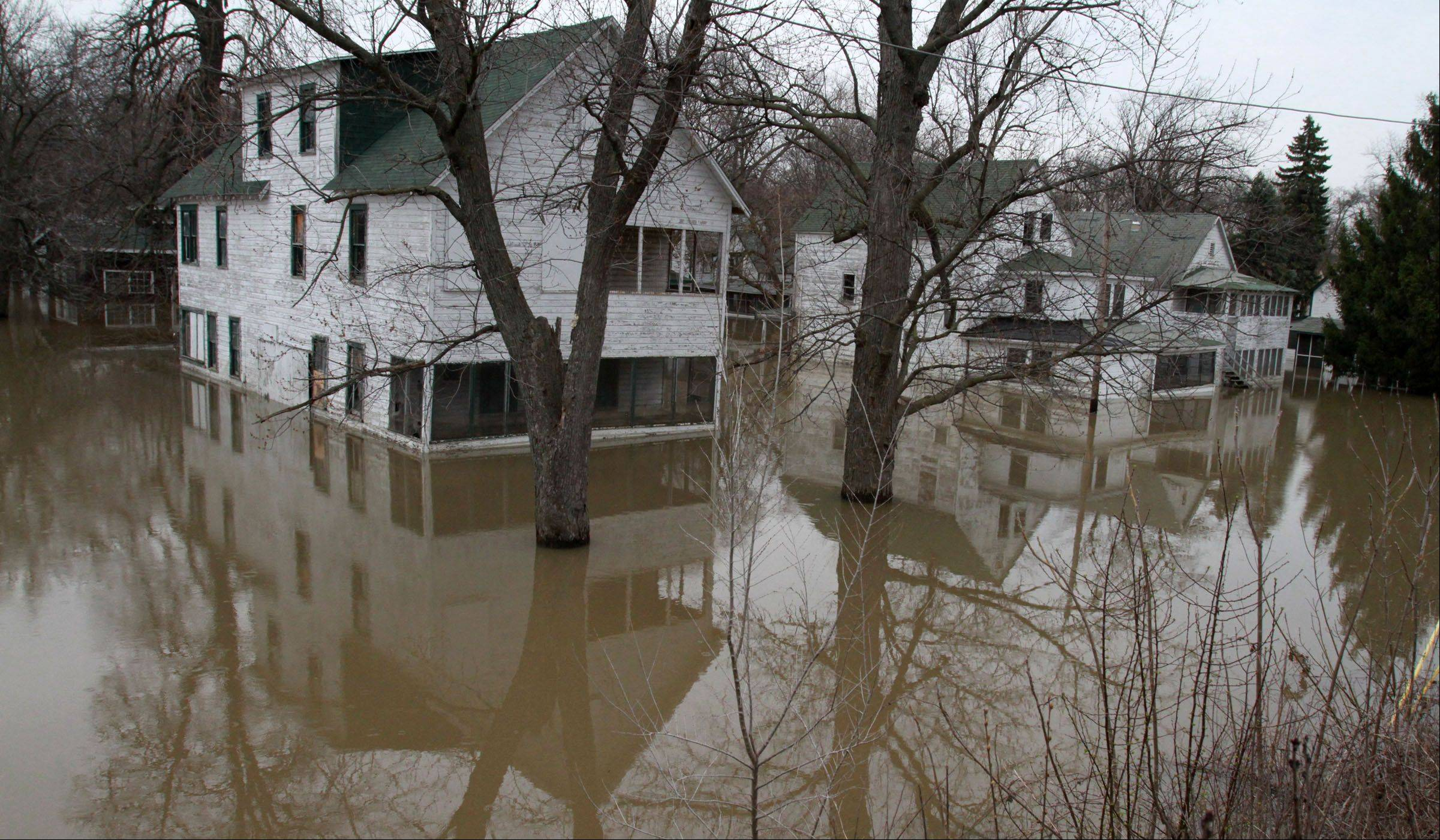 The flooded Des Plaines Methodist Camp Ground in Des Plaines on Tuesday, April 23