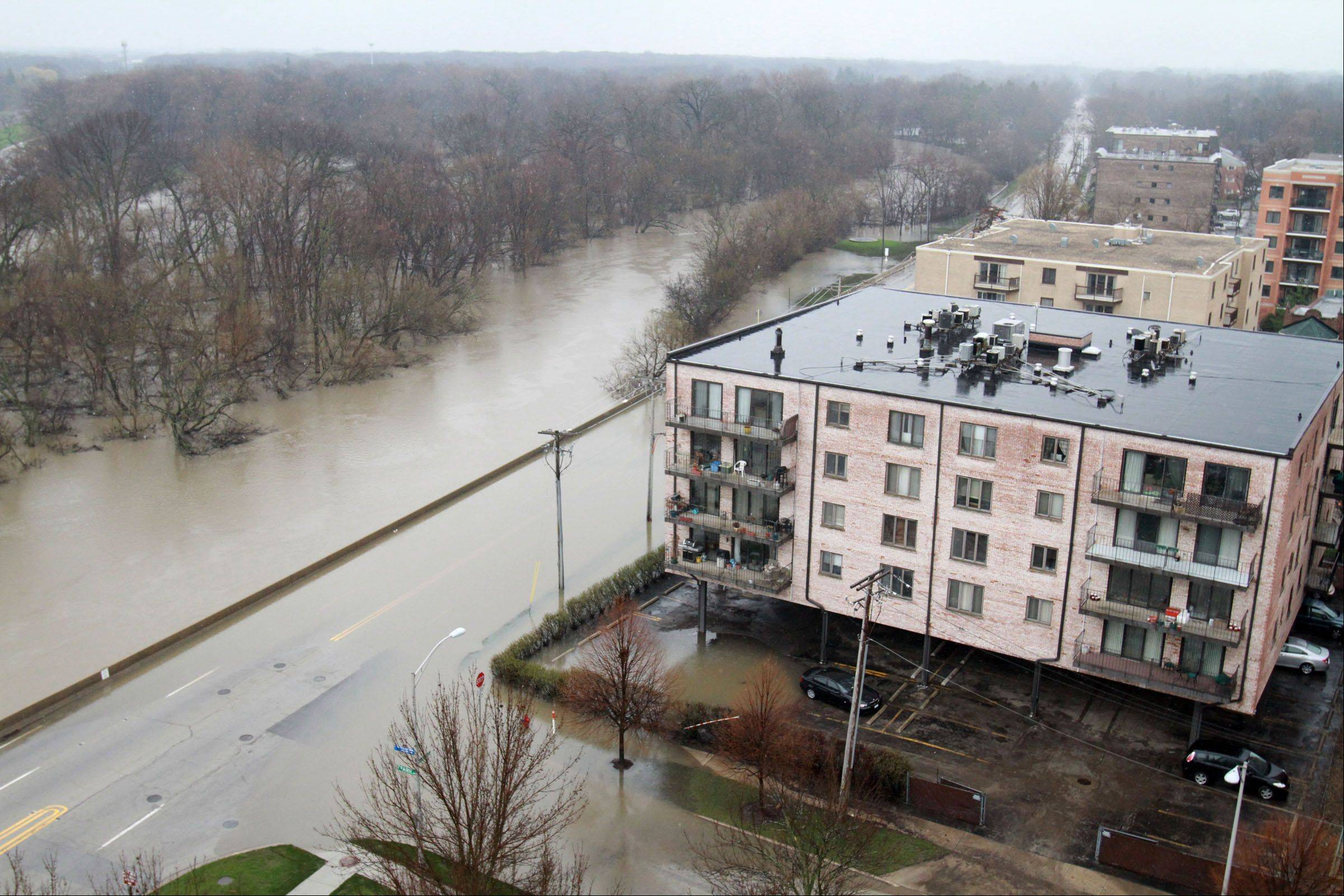 The Des Plaines River and River Road just south of MIner Street on Tuesday.