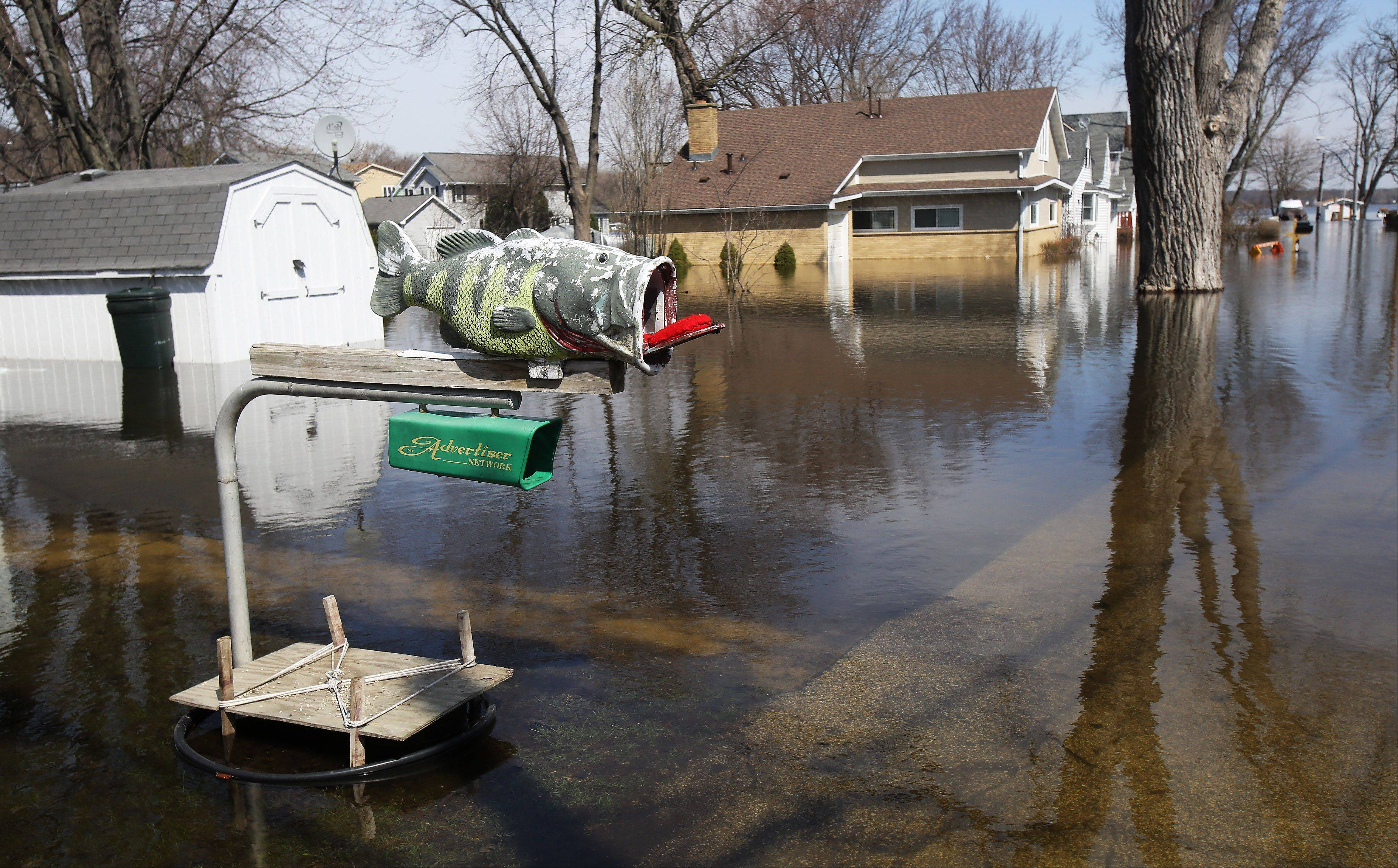 Houses are surrounded by water along Atwater Parkway from flooding around Fox Lake on Monday. The Chain O' Lakes waters have still not receded and area residents are concerned about the forecast of rain on Tuesday.