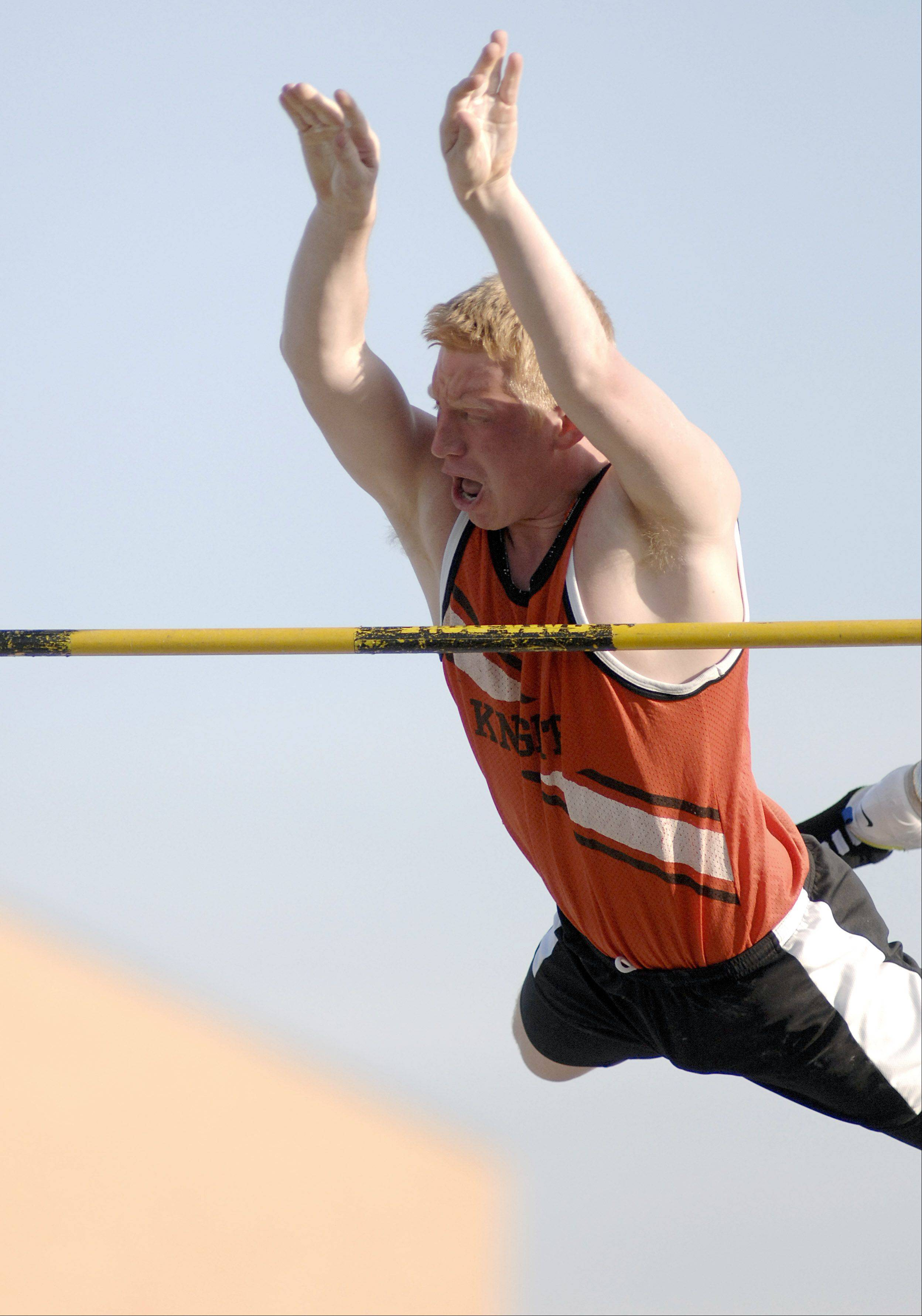 Laura Stoecker/lstoecker@dailyherald.com � Kaneland's Kory Harner in the pole vault final at the Kane County Boys Track & Field Meet on Friday, May 4.