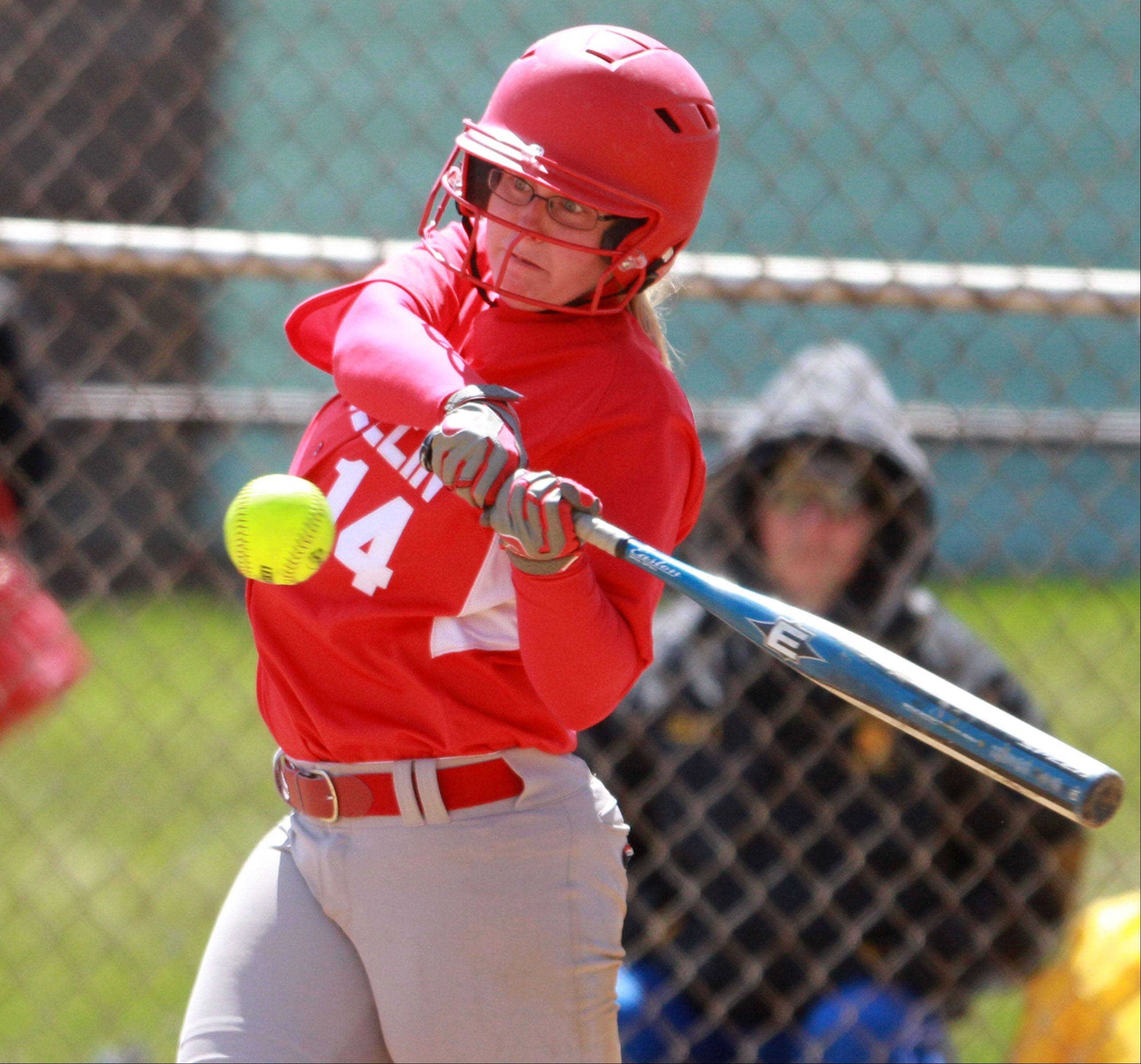 Mundelein's Abbey Rosenow eyes the ball against Johnsburg in Mundelein on Saturday.