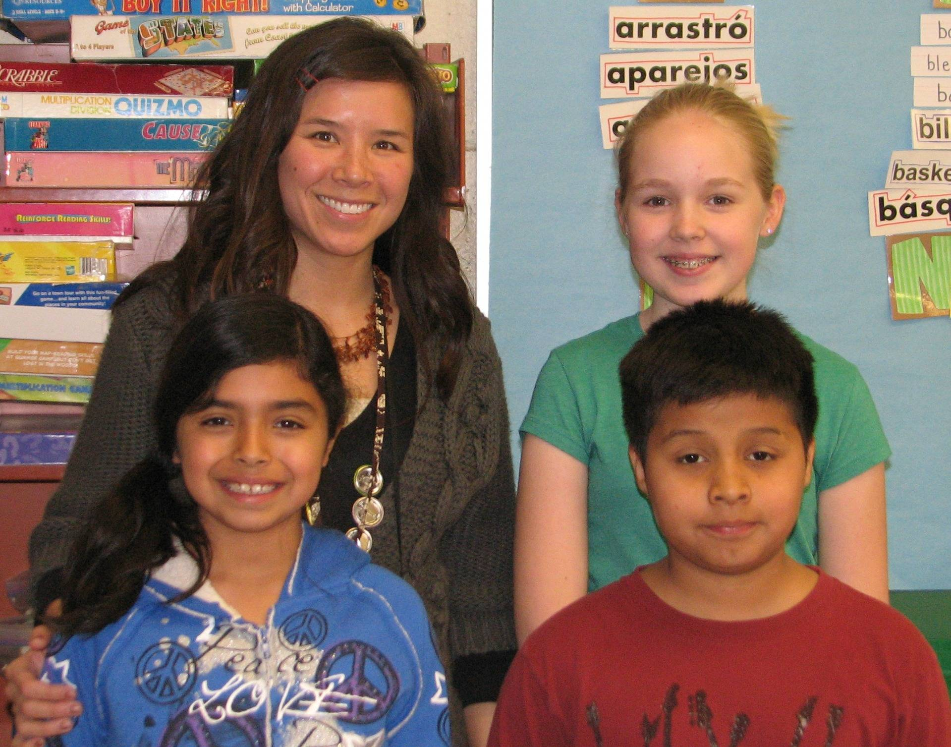 Back row - left to right-Amy Heavey, dual language teacher, Audrey Miller;Front Row: left to right, Gloria Gonzalez, Dyla Borja