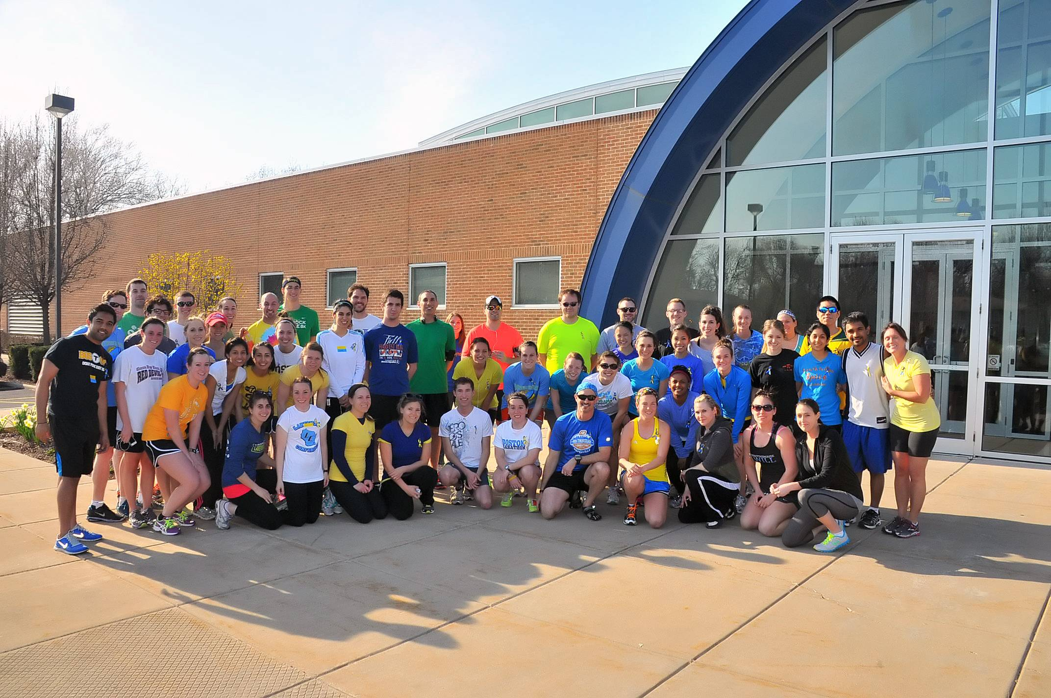 Midwestern University students and faculty members gather before a run organized in honor of the Boston Marathon tragedy. The run was coordinated by a Midwestern student who participated in the marathon.