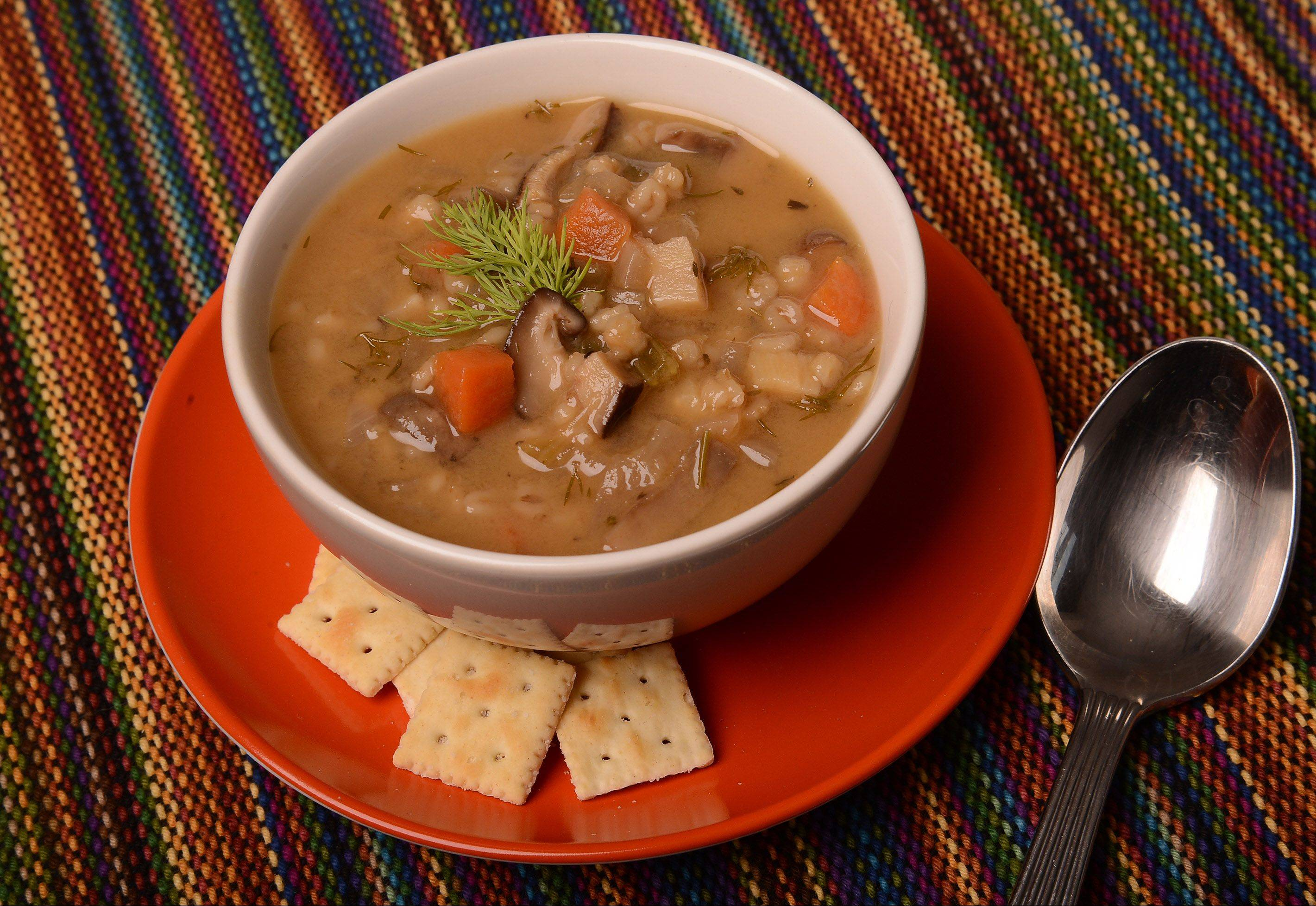 Mushroom Barley Soup made with dried mushrooms, carrots and parsnips is one of M. Eileen Brown's all-time favorite soups.