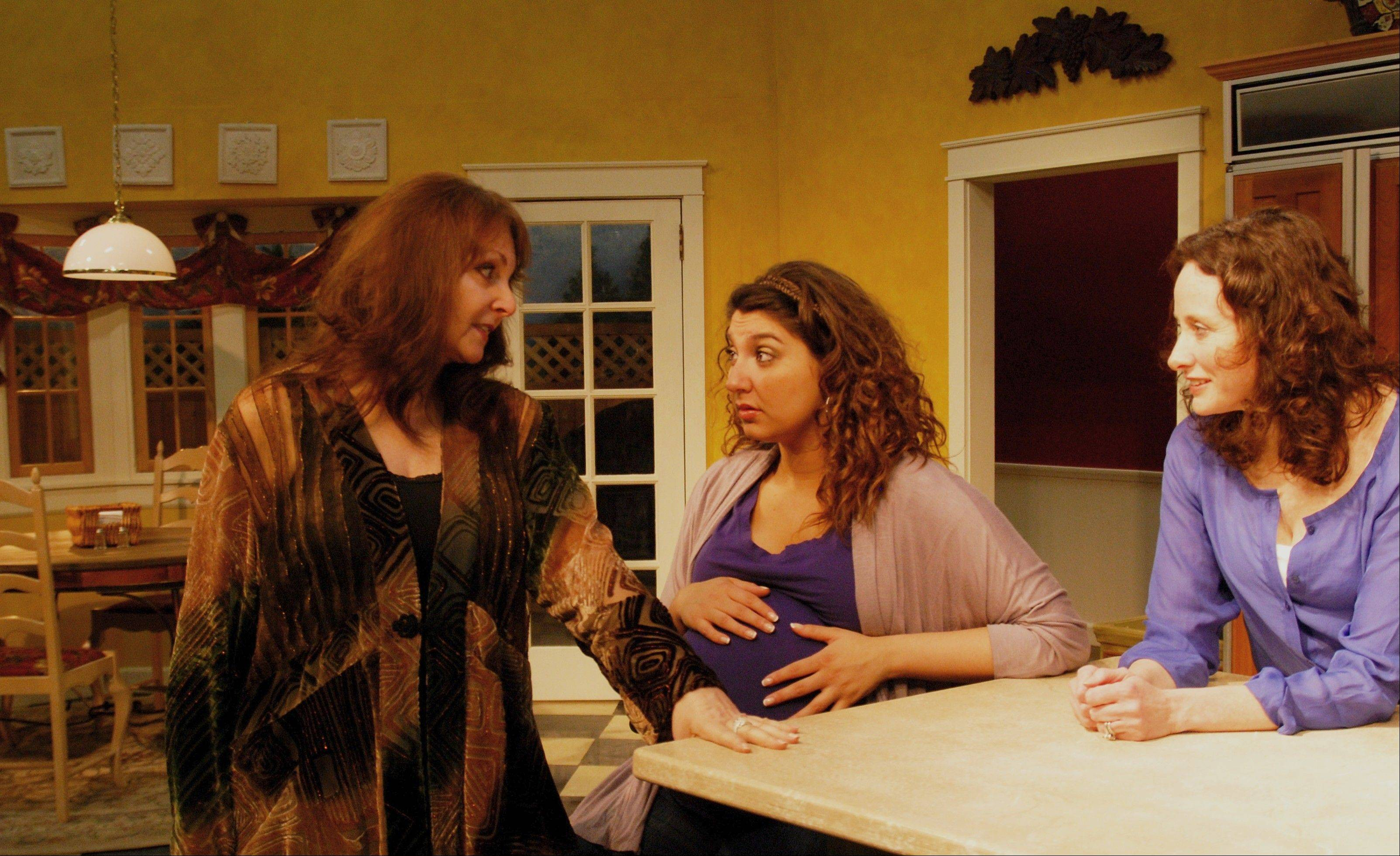 "Ava (Sheila Landahl, left) tells new neighbor Mary (Jeri Tocco, center) and Lil (Lori Rohr) why she is so expressive and pushy in Clockwise Theatre's ""The Party in the Kitchen"" in Waukegan."