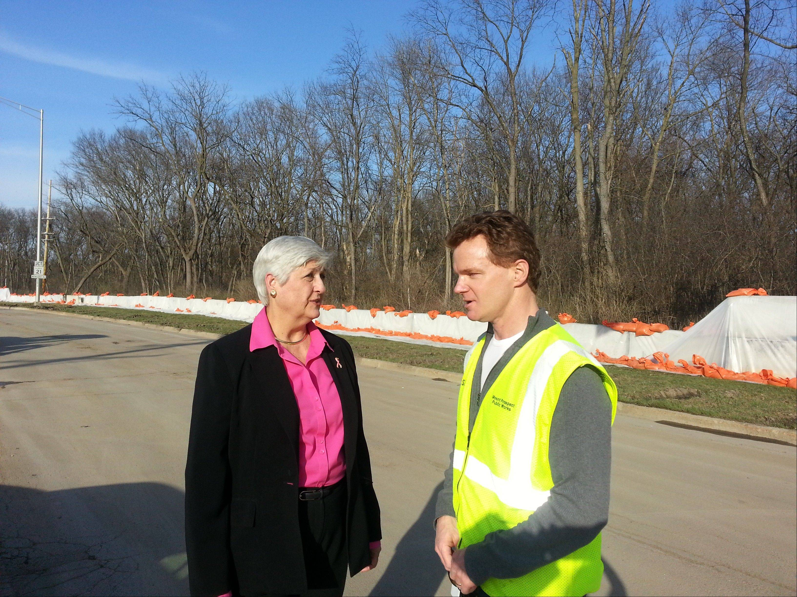 Mount Prospect Mayor Irvana Wilks talks with village Public Works Director Sean Dorsey Monday in front of 600 feet of temporary jersey barriers that were installed to fill a gap in Levee 37.
