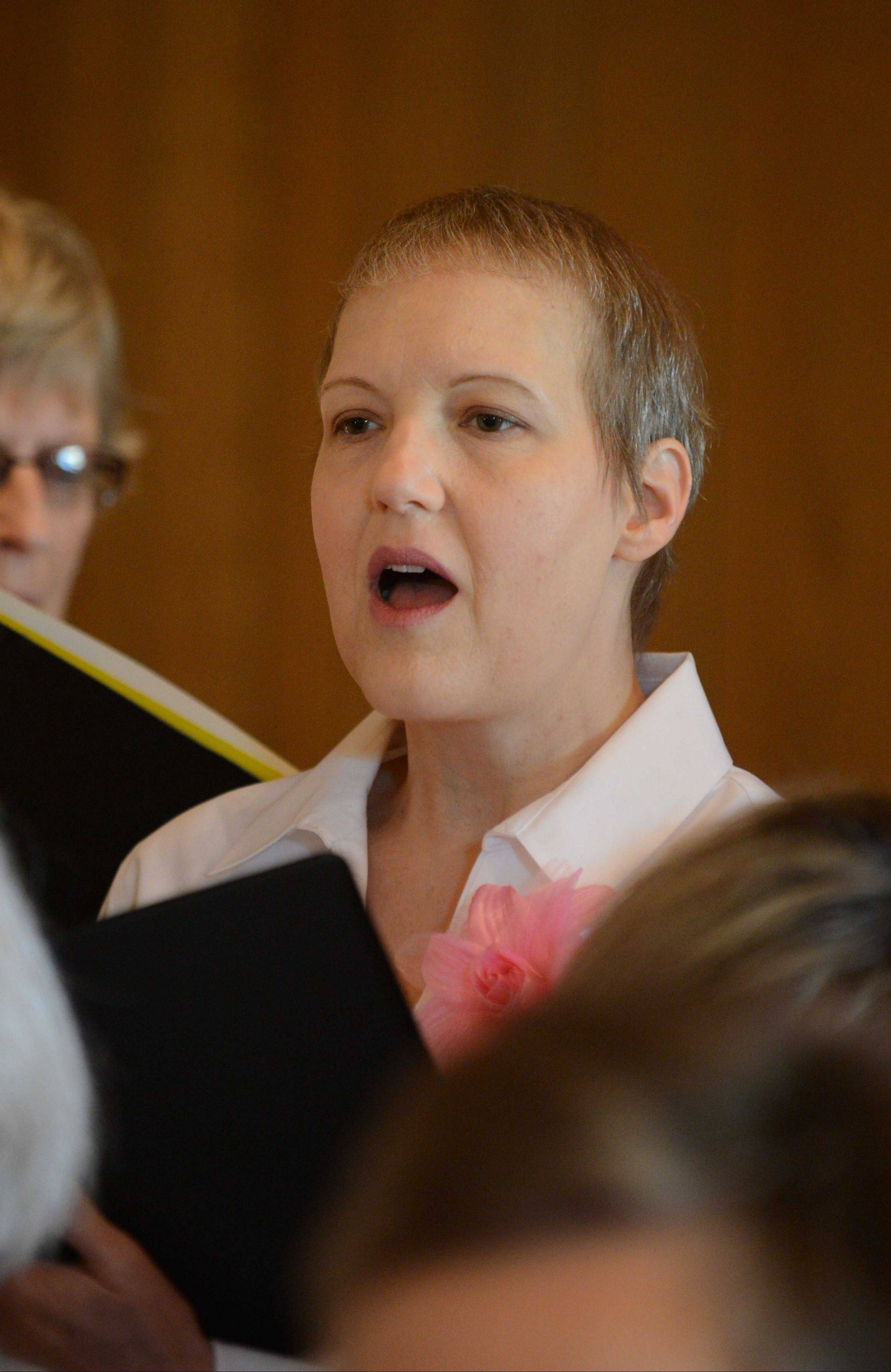 Jennifer Jones, diagnosed last year with breast cancer, has felt too self-conscious to sing with her church choir but finds comfort — and her voice — in singing with the Voices of Hope chorus.