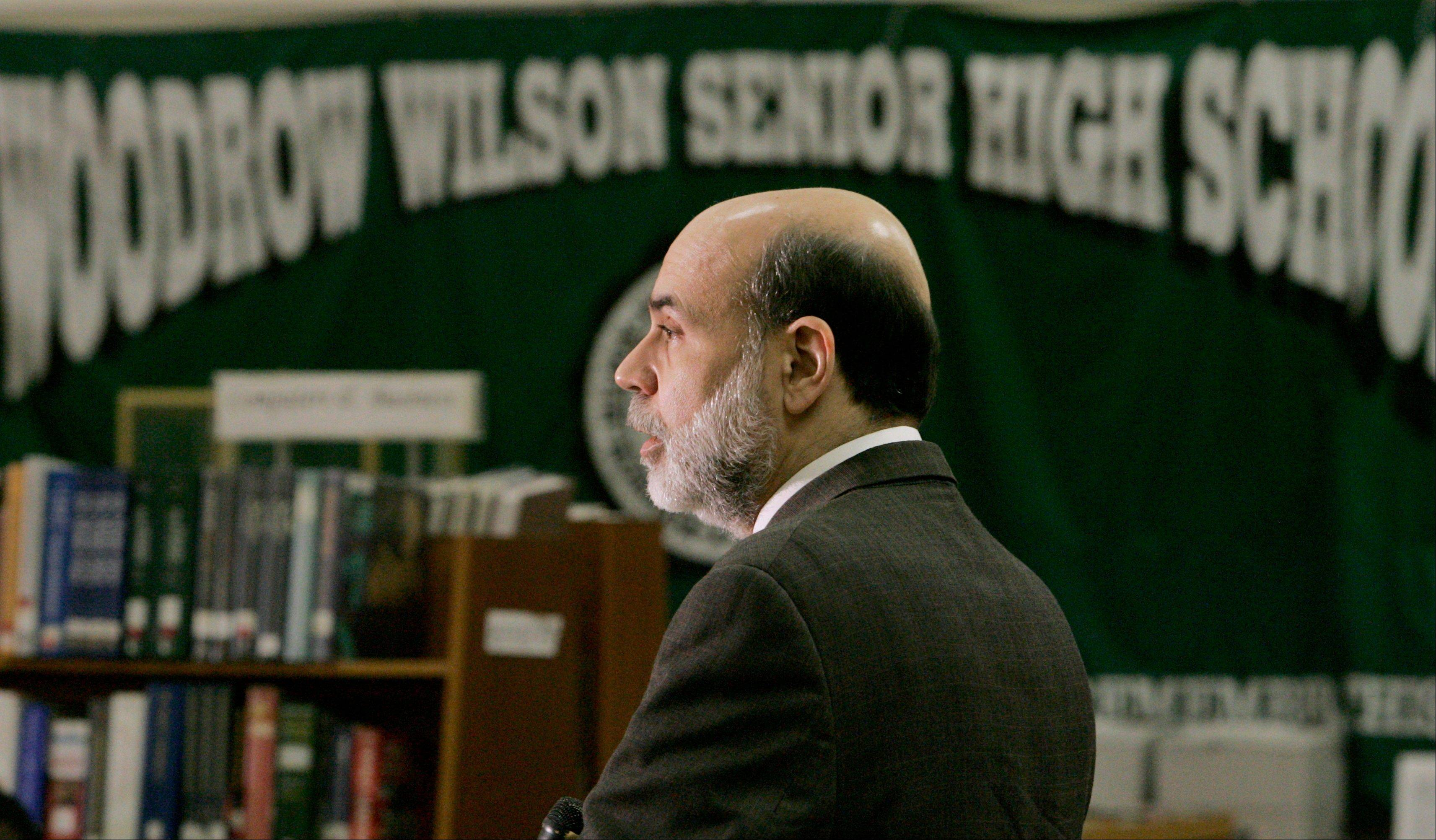 Federal Reserve Board Chairman Ben Bernanke speaks at the Greater Washington Jumpstart Coalition Financial Literacy Event at Woodrow Wilson Senior High School in Washington.