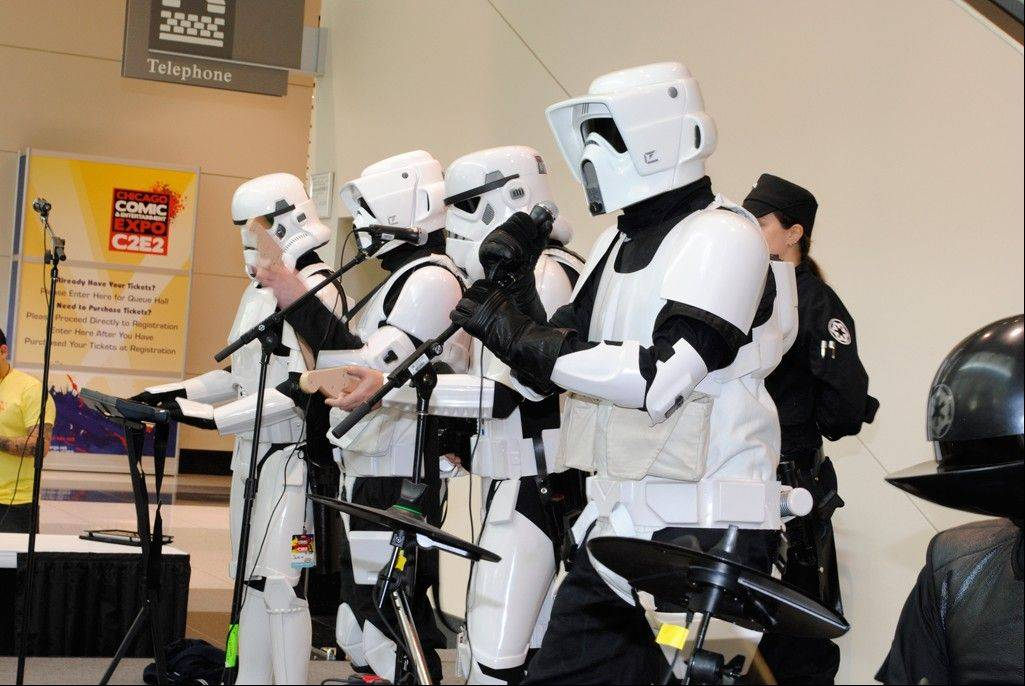 "Fans dressed up as ""Star Wars"" storm troopers congregate at a previous edition of the Chicago Comic & Entertainment Expo (C2E2). The event returns to McCormick Place in Chicago this weekend."