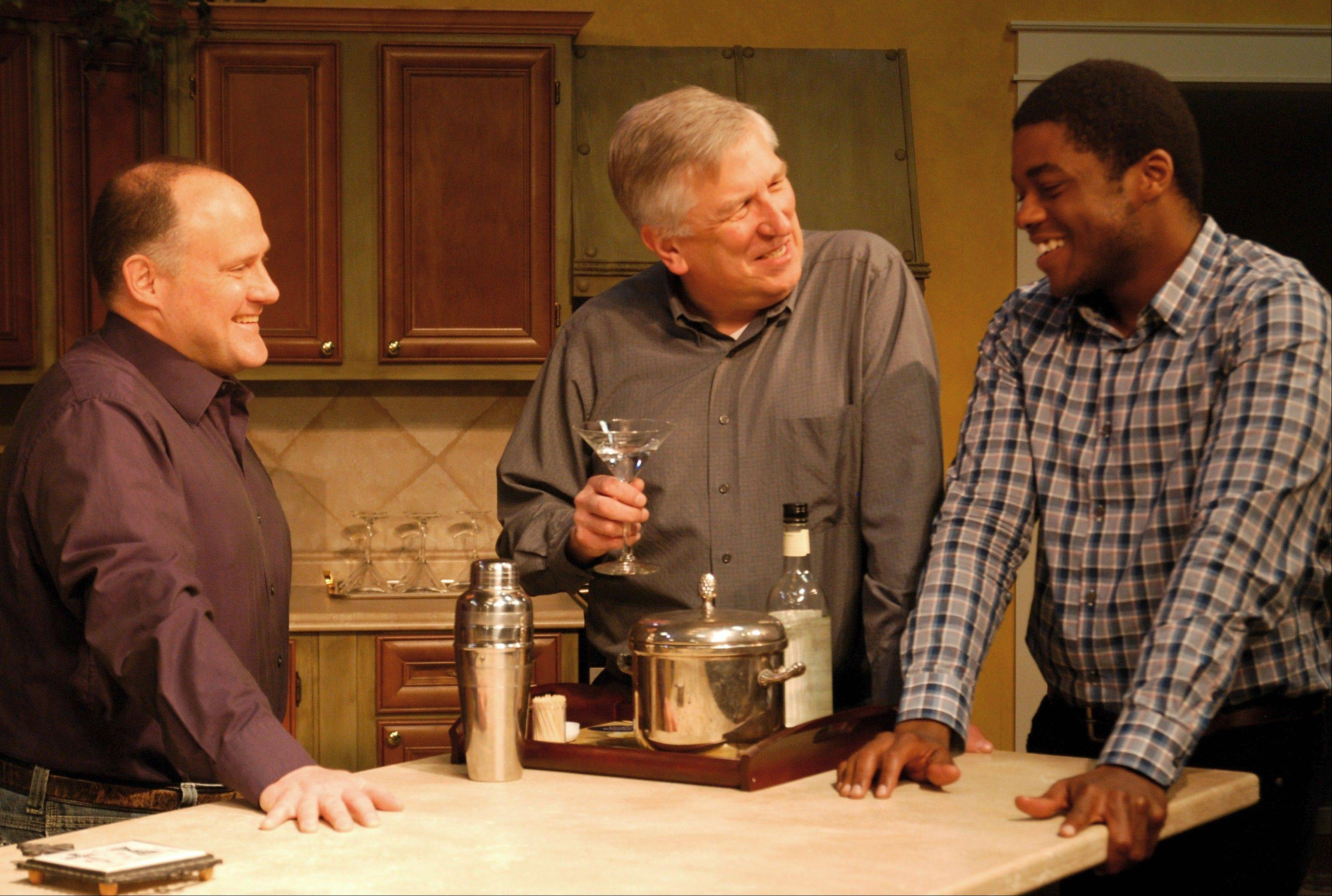 "Phil (Louis Arata), Guy (Patrick Kerr) and Danny (David Guy) complain about their work and spouses in Clockwise Theatre's ""The Party in the Kitchen"" in Waukegan."