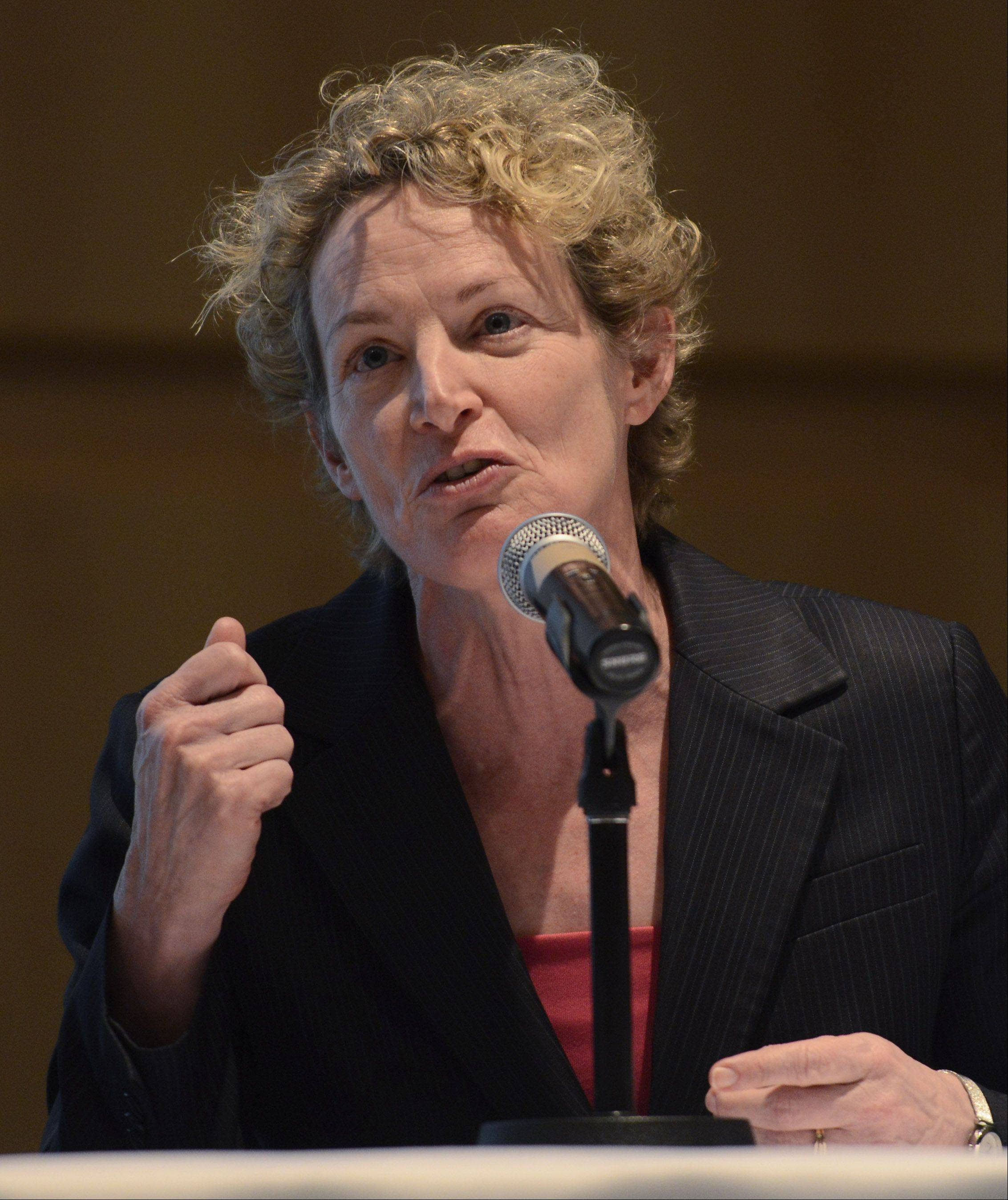 State Rep. Elaine Nekritz speaks during Wednesday's pension reform forum sponsored by the Daily Herald and Reboot Illinois. The event was held at Harper College in Palatine.