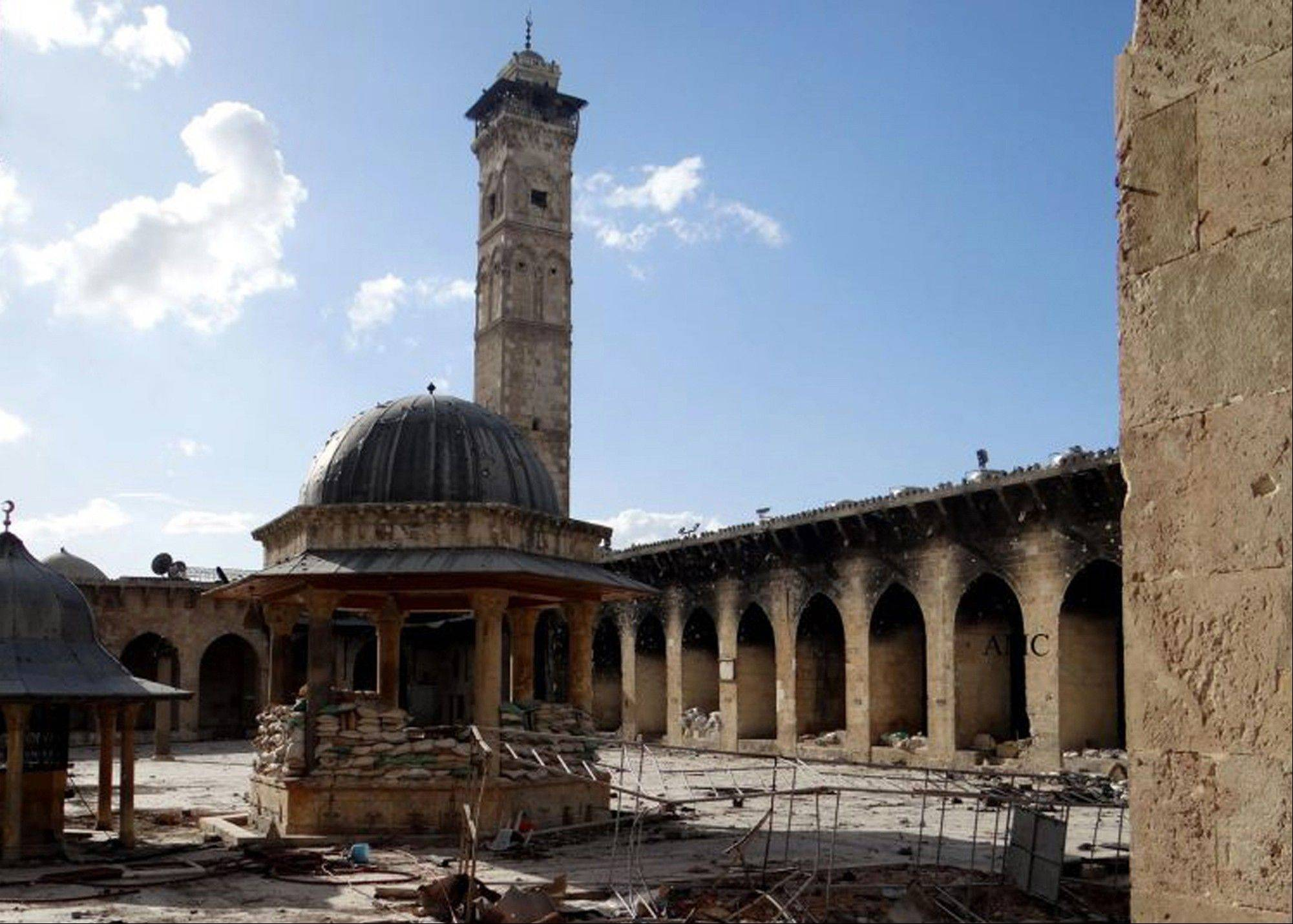 The minaret of a famed 12th century Umayyad mosque before it was destroyed by the shelling, in the northern city of Aleppo, Syria. The minaret of a famed 12th century Sunni mosque in the northern Syrian city of Aleppo was destroyed Wednesday, April 24, 2013.