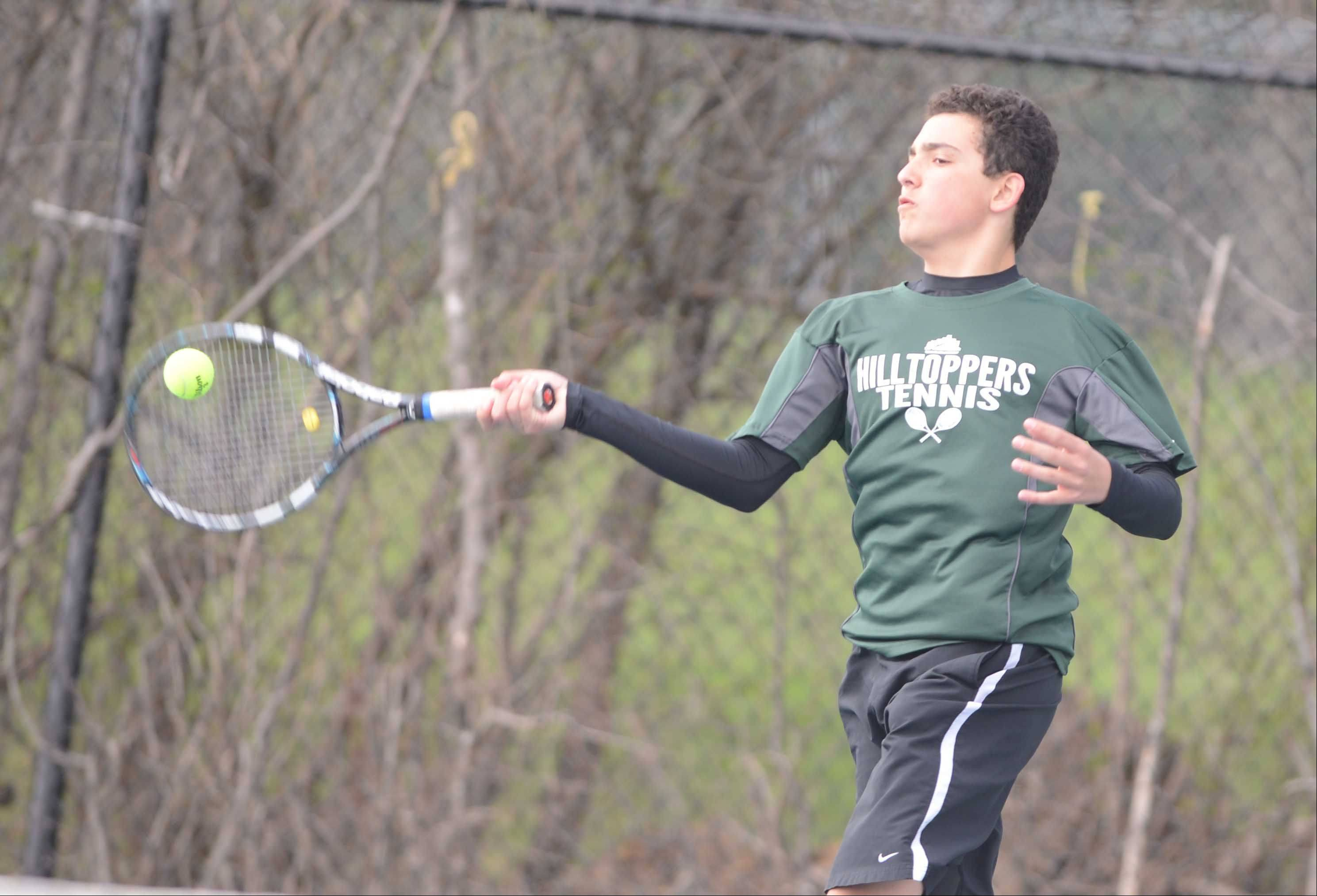Paul Michna/pmichna@dailyherald.comSteven Hanna of Glenbard West in the #2 singles match during the Glenbard West at Wheaton North boys tennis meet Wednesday.