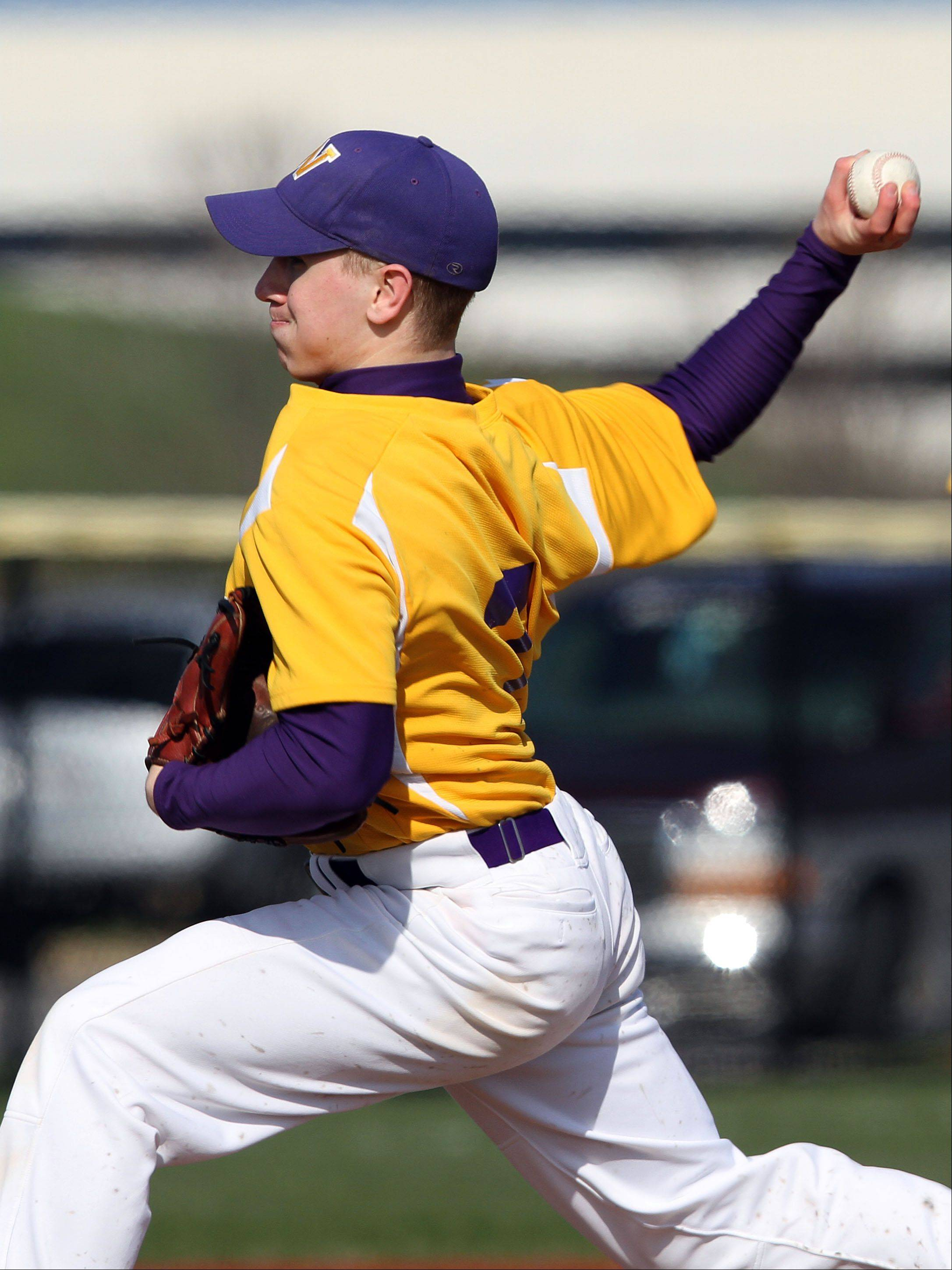 Wauconda's Brandon Gibis pitches Wednesday at Vernon Hills.