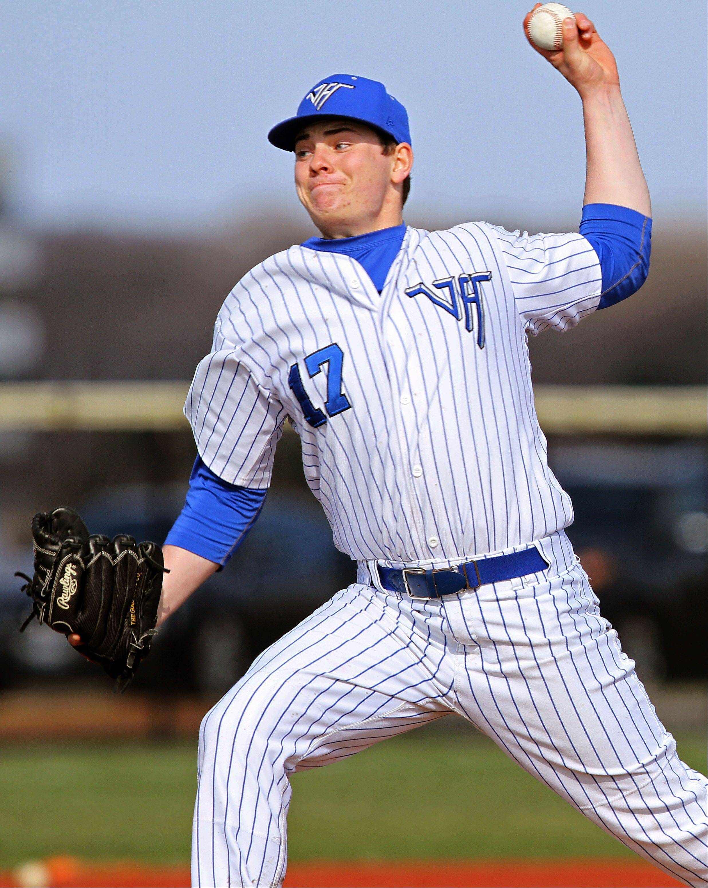 Vernon Hills' Tyler Feece pitches against Wauconda on Wednesday at Vernon Hills.