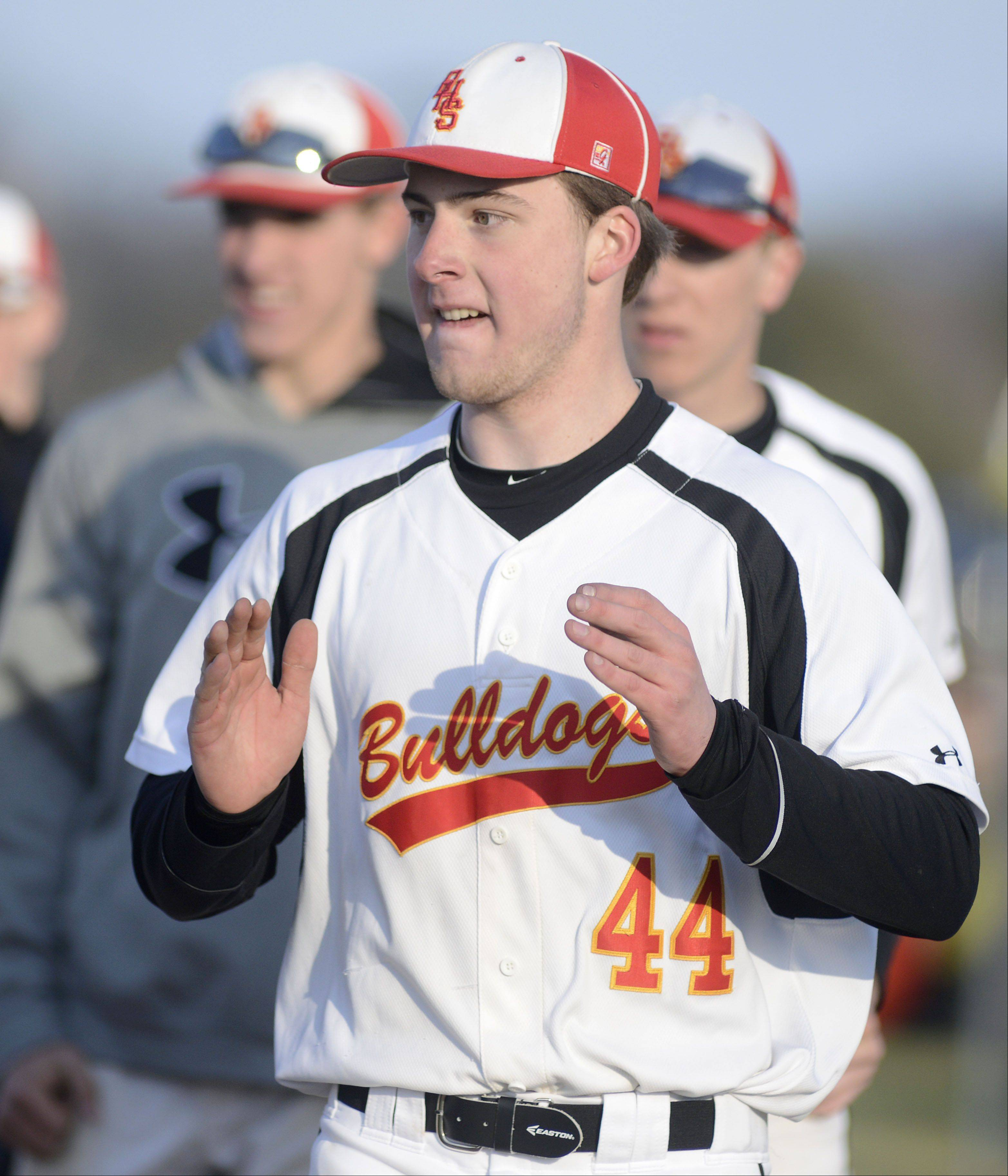 Batavia pitcher Austin Shanahan shows his enthusiasm after winning over St. Charles East 5-4 on Wednesday, April 24.