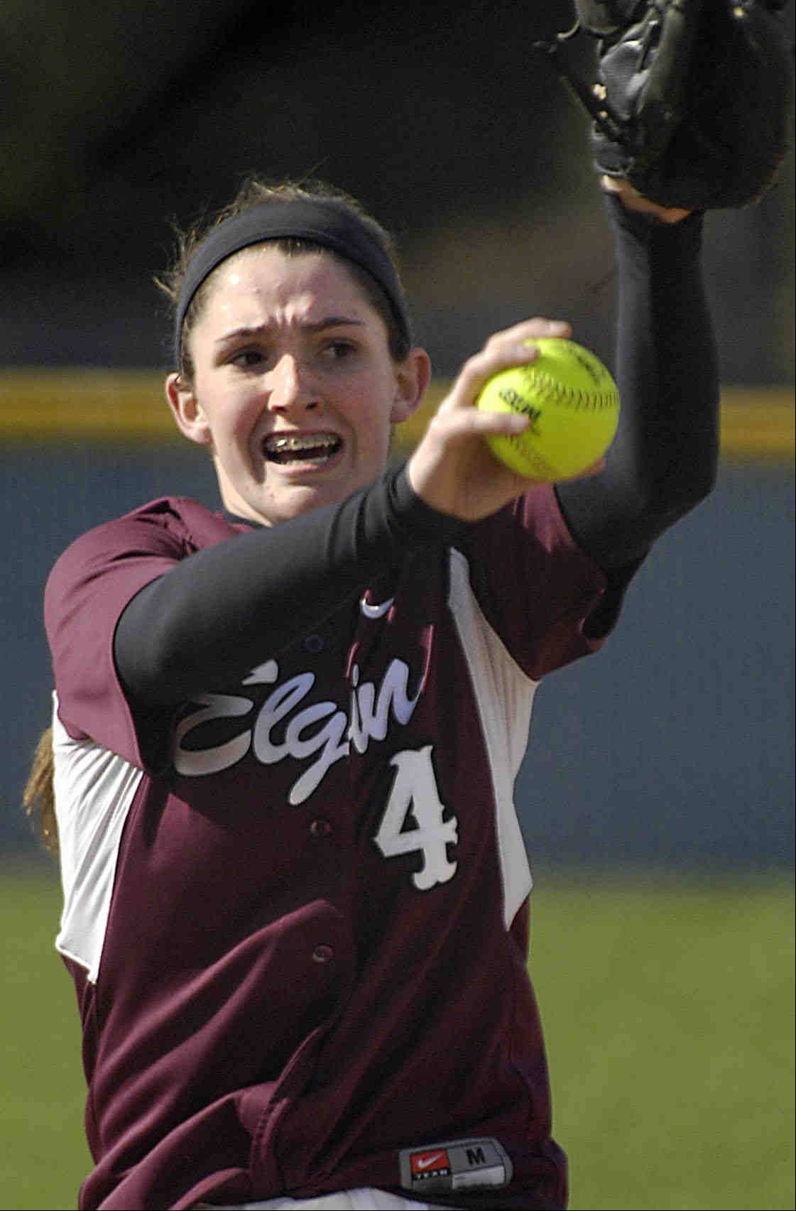 Elgin's Jennah Perryman struck out 17 Larkin batters and allowed no hits, while hitting two home runs Wednesday in Elgin.