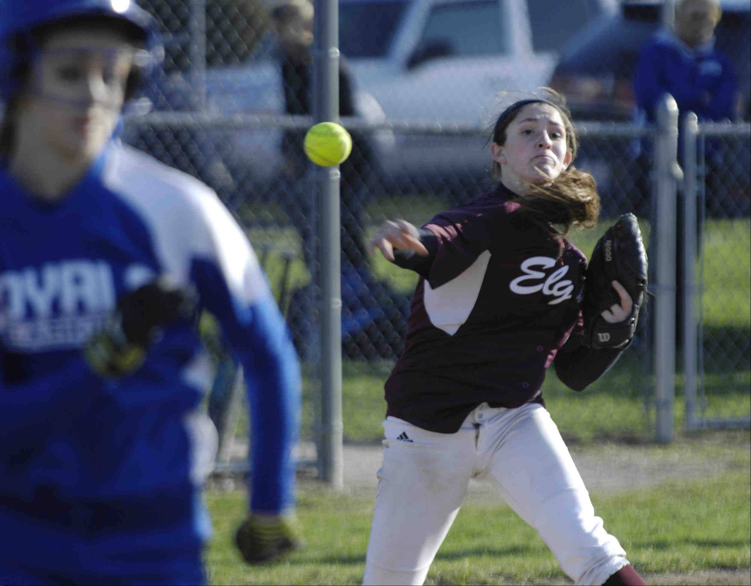 Elgin pitcher Jennah Perryman throws out Larkin hitter Sam Wahl to preserve her no-hitter in the last inning Wednesday in Elgin.