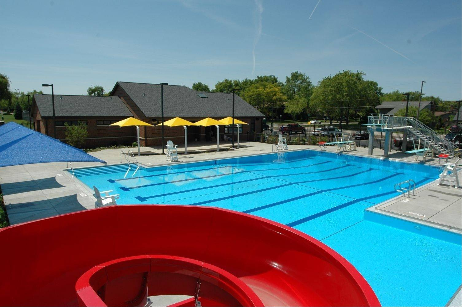 Eagle Pool, remodeled in 2012, offers an enlarged zero depth tot pool with alligator slide and bubbles. It is located at 1425 N. Oak St., in Palatine.