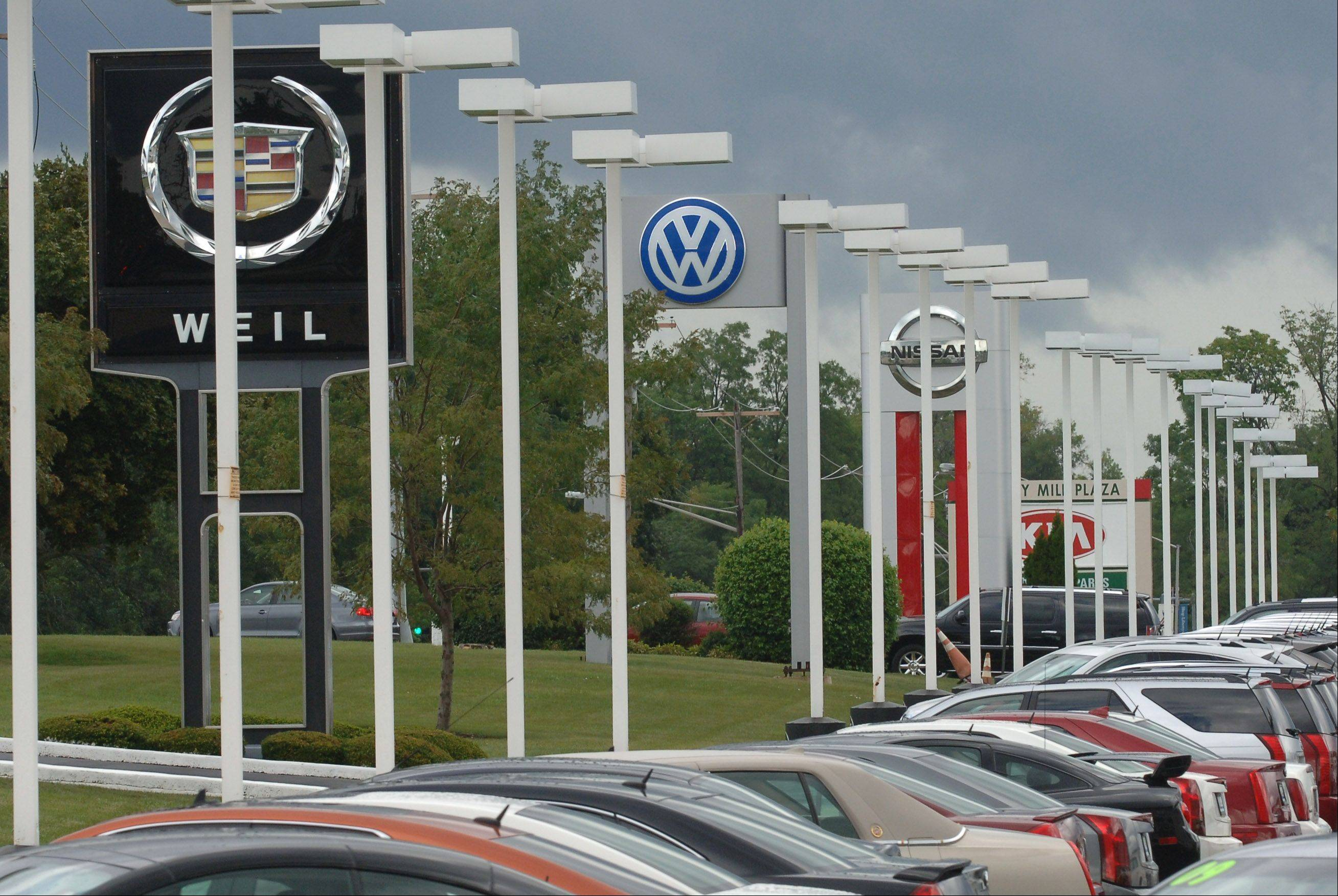 Automobile dealerships are the main source of sales tax in Libertyville.