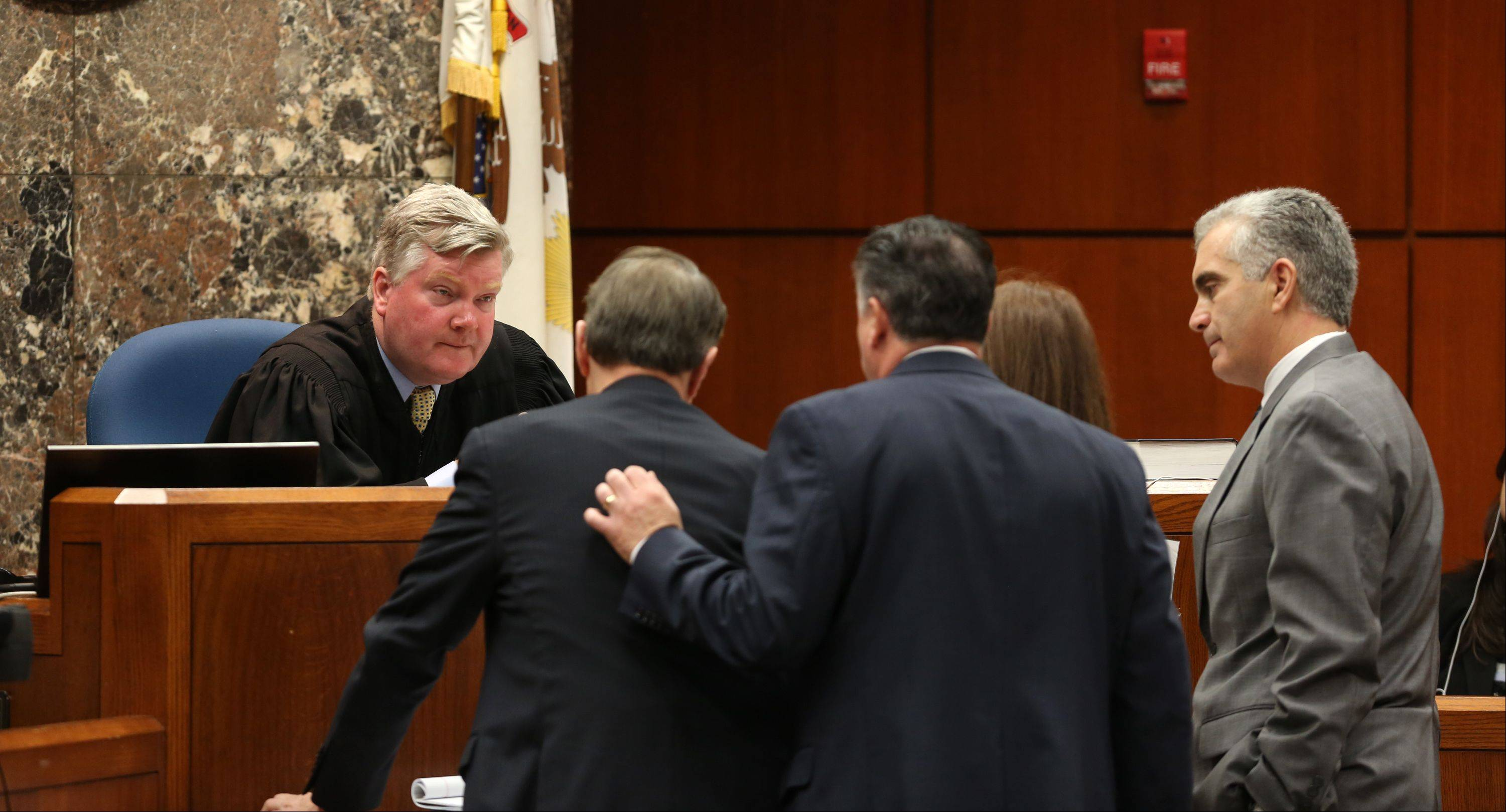Judge Daniel Guerin confers with attorneys during the Johnny Borizov trial on Thursday. Defense attorneys Paul DeLuca and Richard Kling are to the left, while Assistant State's Attorneys Amanda Meindl and Joe Ruggiero are on the right.