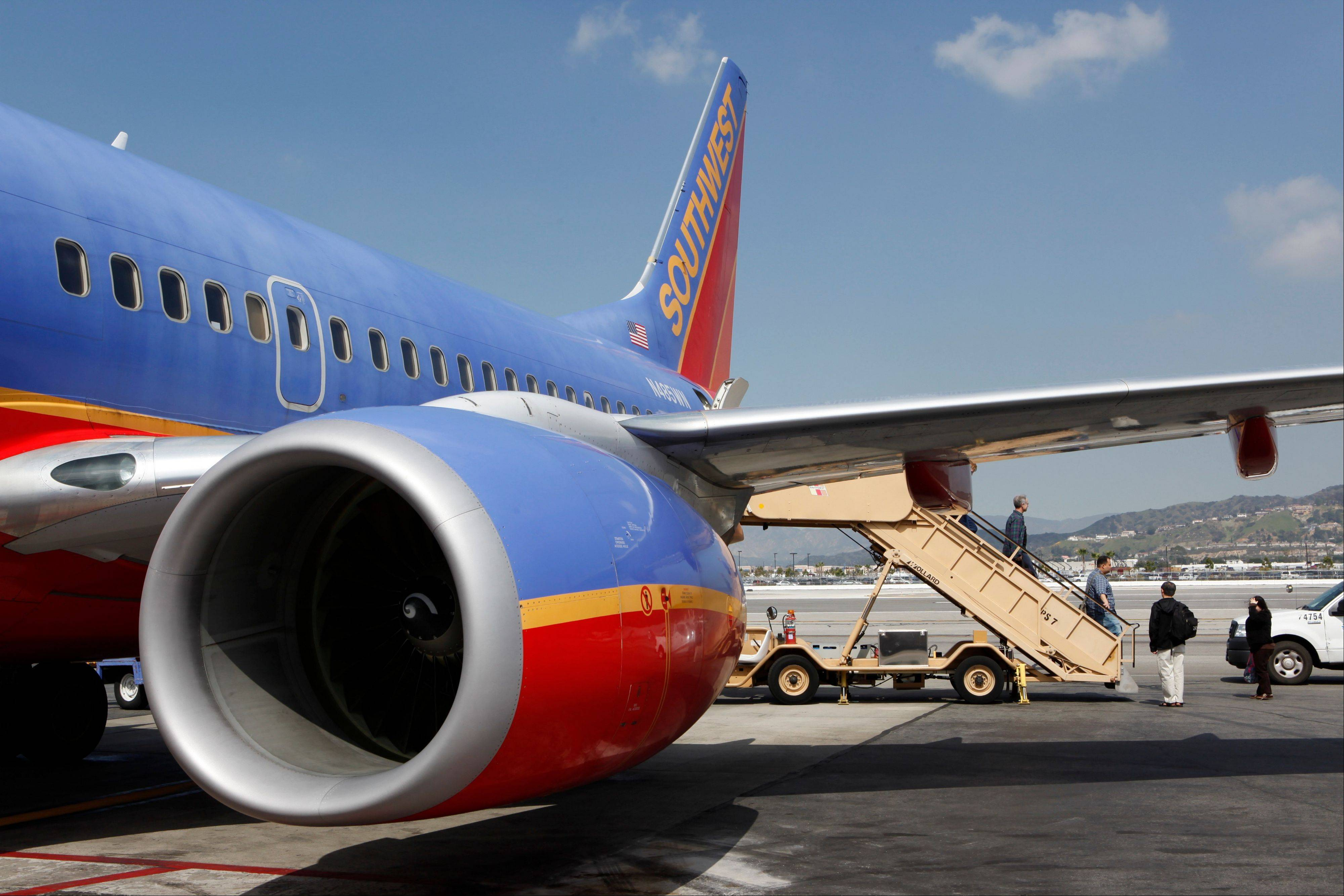 A Southwest Airlines plane in Burbank, Calif.