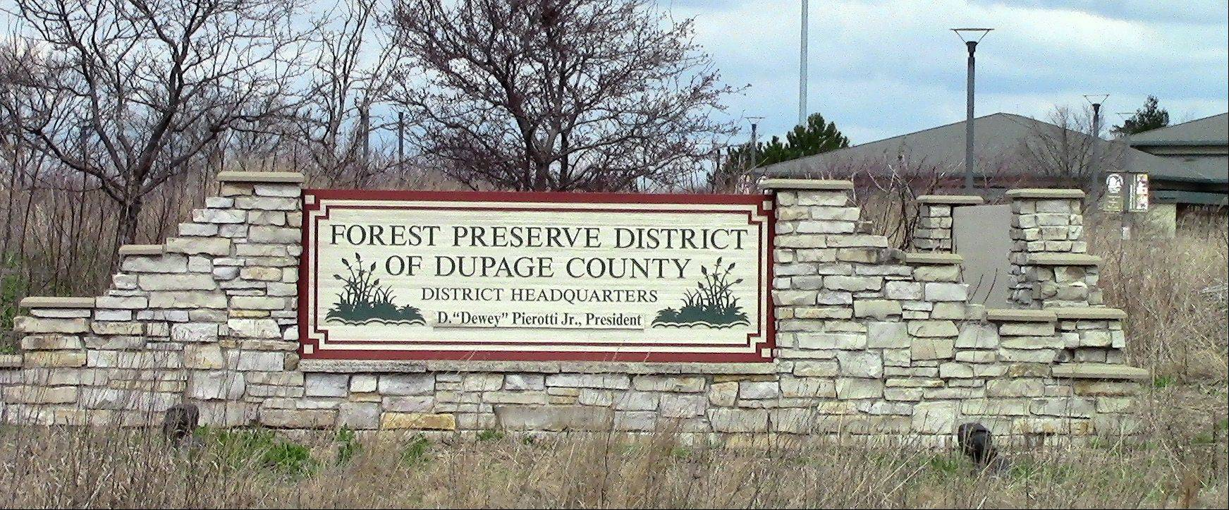 DuPage County Forest Preserve President D. Dewey Pierotti's name appears on 68 signs at key sites around the county, including the district's headquarters along Naperville Road in Wheaton.