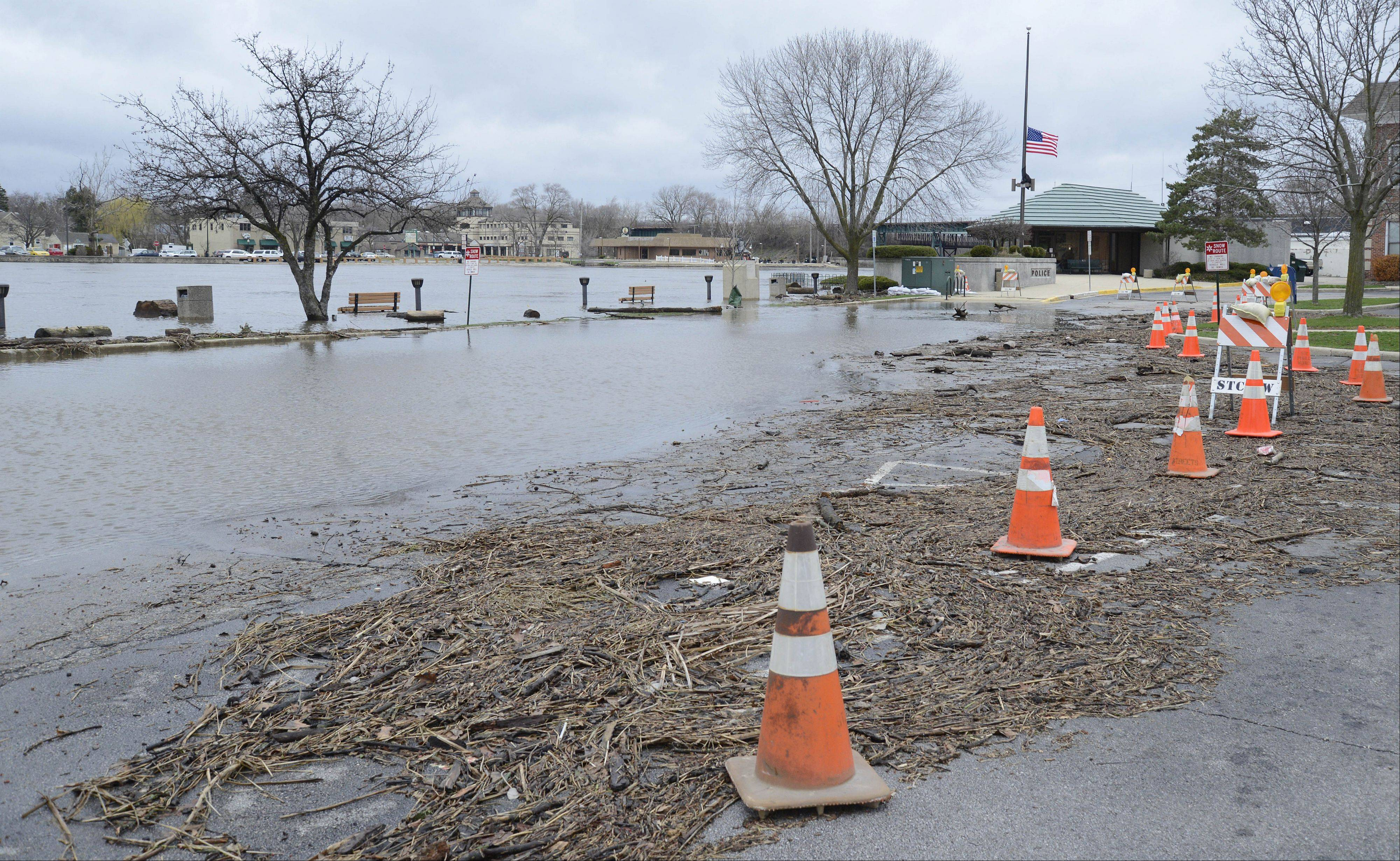 St. Charles residents will have a special trash collection next week for flood-damaged items. This photo shows the flooded parking lot near the St. Charles Municipal Center and Police Department on Friday.