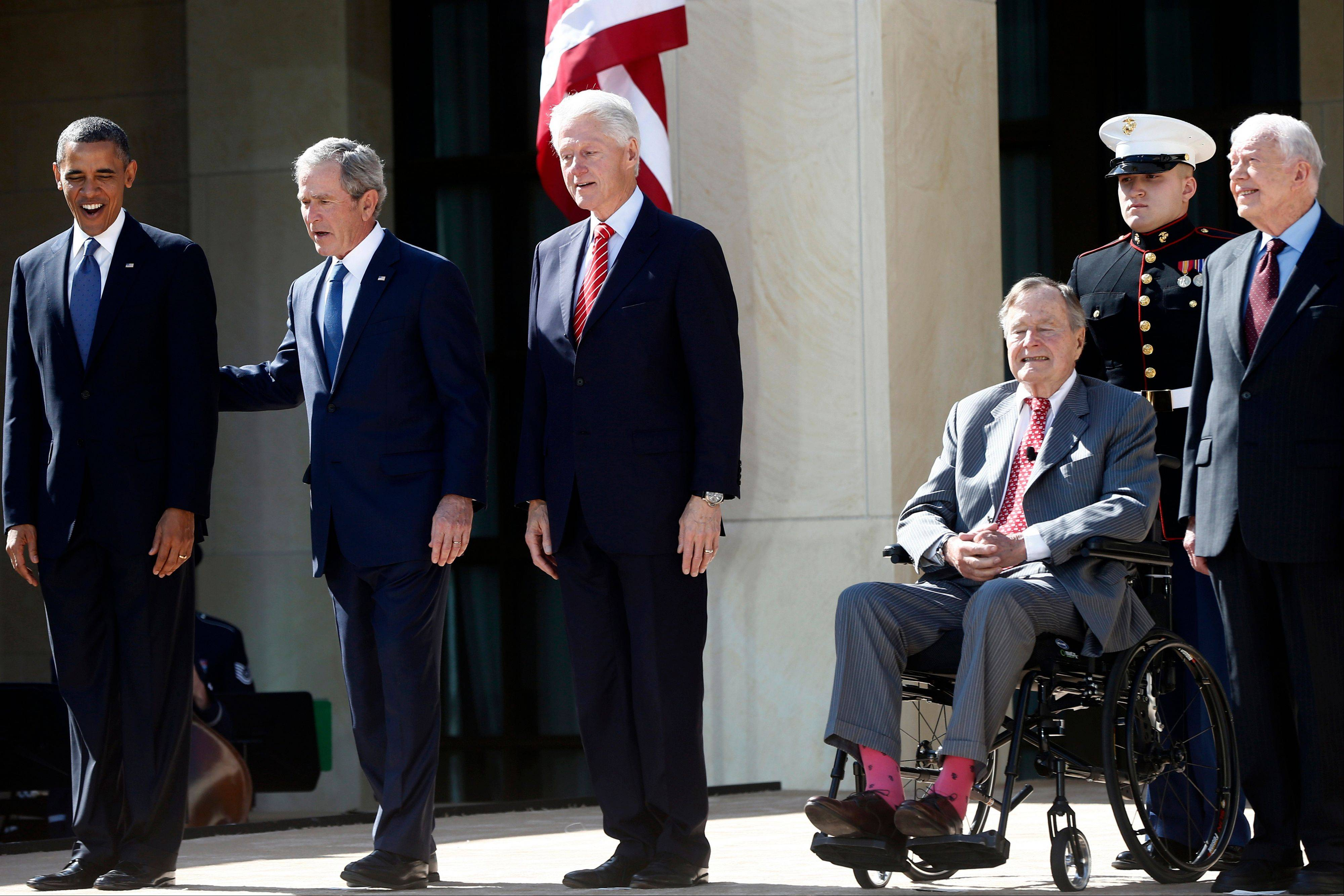 President Barack Obama stands with, from second from left, former Presidents George W. Bush, Bill Clinton, George H.W. Bush, and Jimmy Carter at the dedication of the George W. Bush presidential library on the campus of Southern Methodist University in Dallas, Thursday, April 25, 2013.