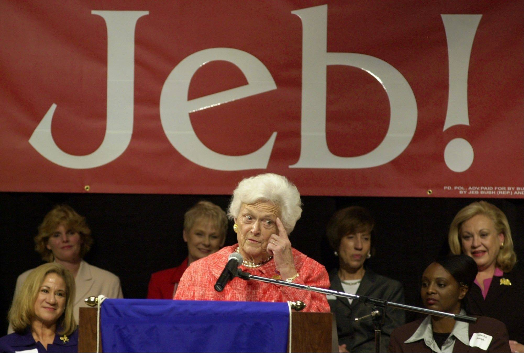 "Former first lady Barbara Bush campaigns for her son, Florida Gov. Jeb Bush, in 2002. Amid the celebration surrounding the opening of son George W. Bush's presidential library, Barbara Bush is brushing aside talk of her son Jeb running for president in 2016. When asked how she felt about it she told NBC's ""Today"" show ""We've had enough Bushes."""