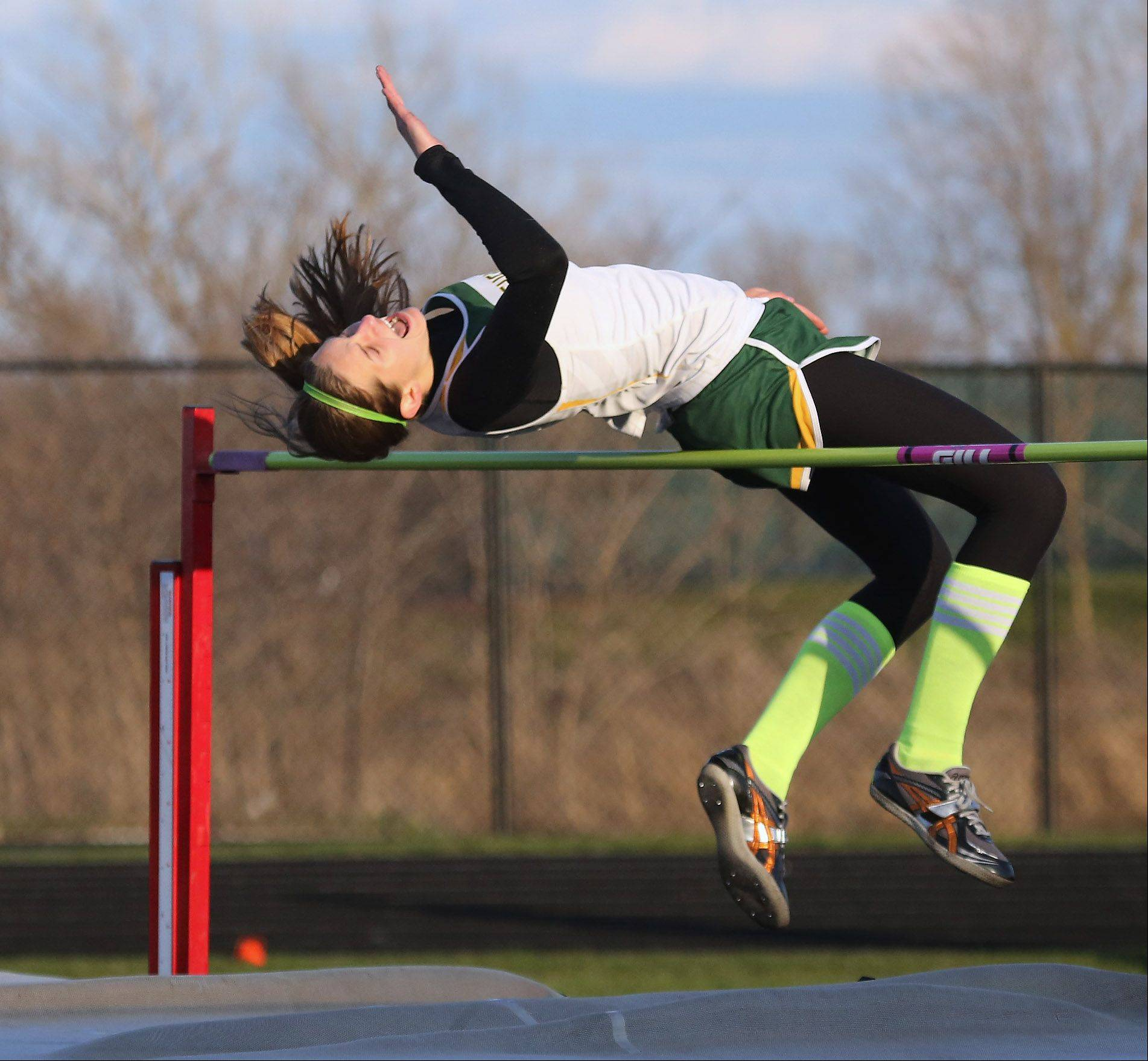 Stevenson jumper Jackie Setina wins the high jump during the Lake County meet Thursday at Grayslake North.