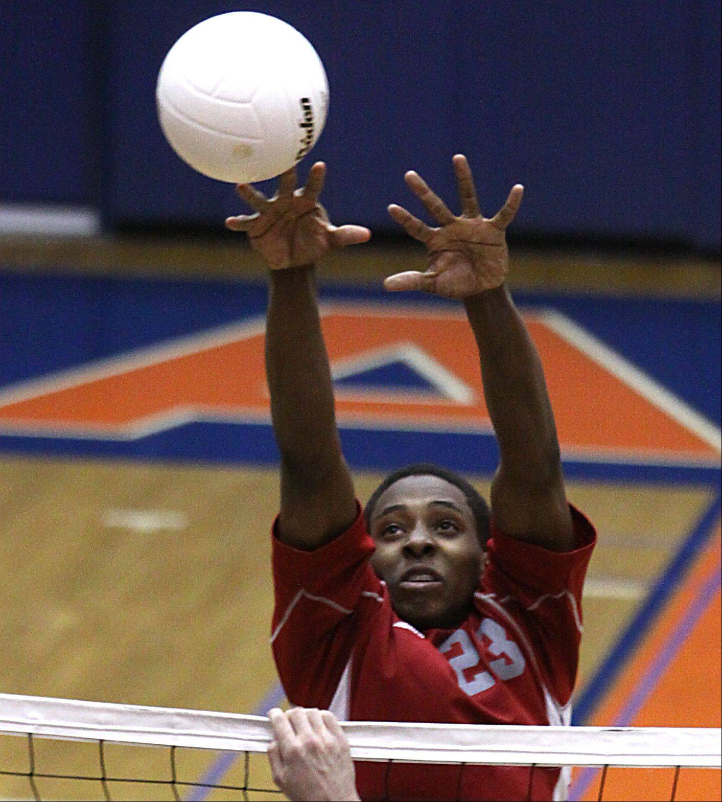 Palatine's Kareem Anderson blocks at Hoffman Estates on Thursday night.