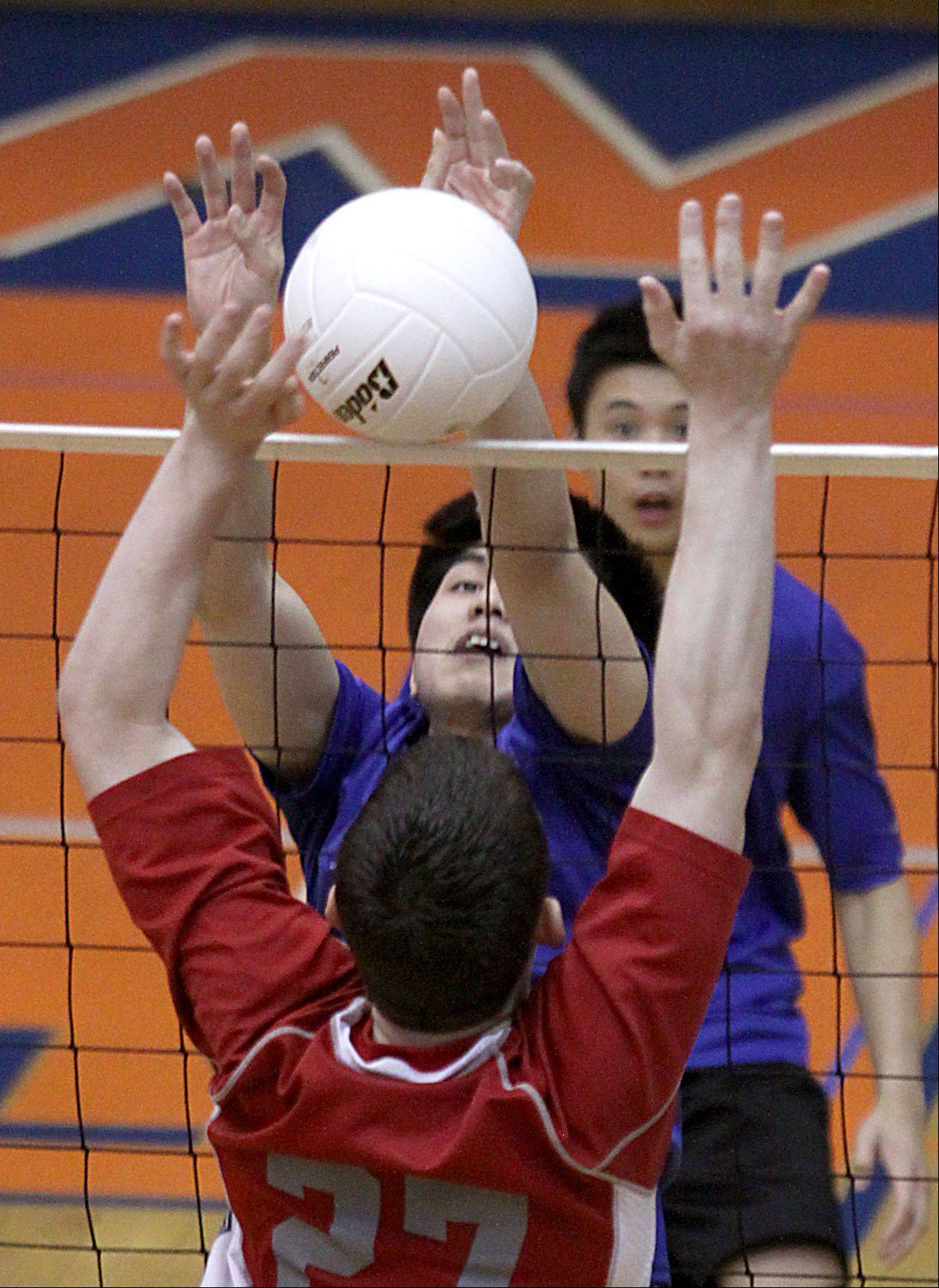 Hoffman Estates' Jovi Pablo, top , and Palatine's Kyle Obernesser battle at the net Thursday at Hoffman Estates.