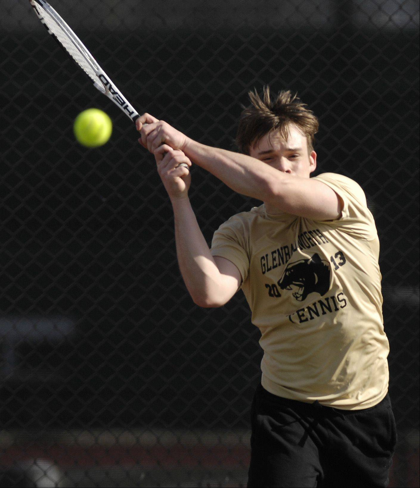 Matt Mistro of Glenbard North plays Sid Swamy of Naperville Central during a varsity tennis match in Carol Stream, Thursday.