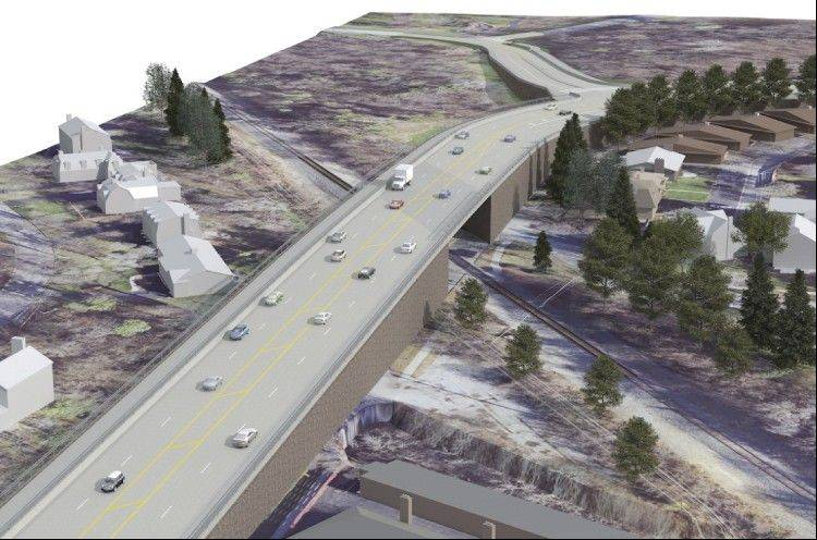 The overpass option for the proposed grade separation of the Canadian National railroad crossing of Route 14 in Barrington.